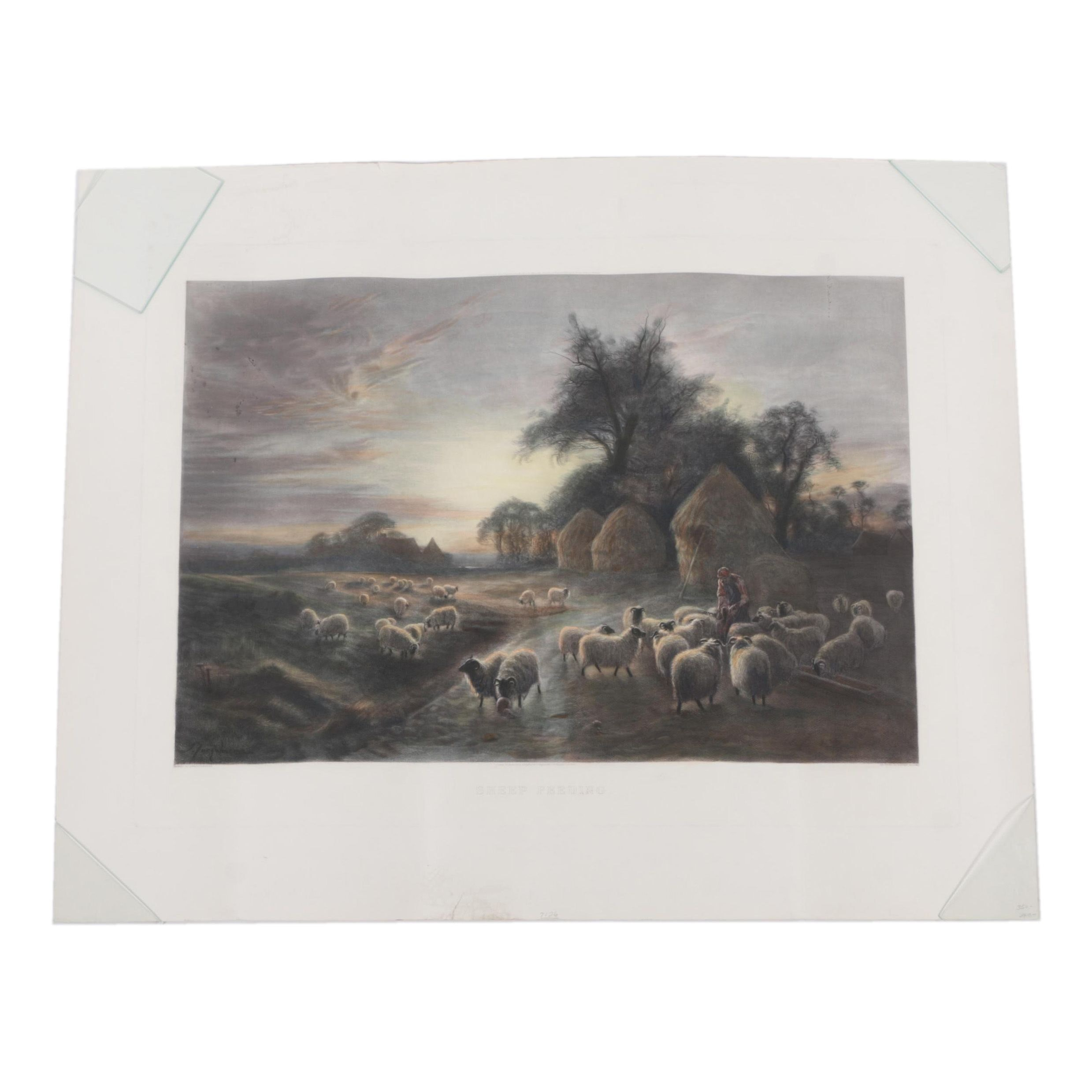 "Hand Colored Engraving After J. Farquharson's ""Sheep Feeding"""