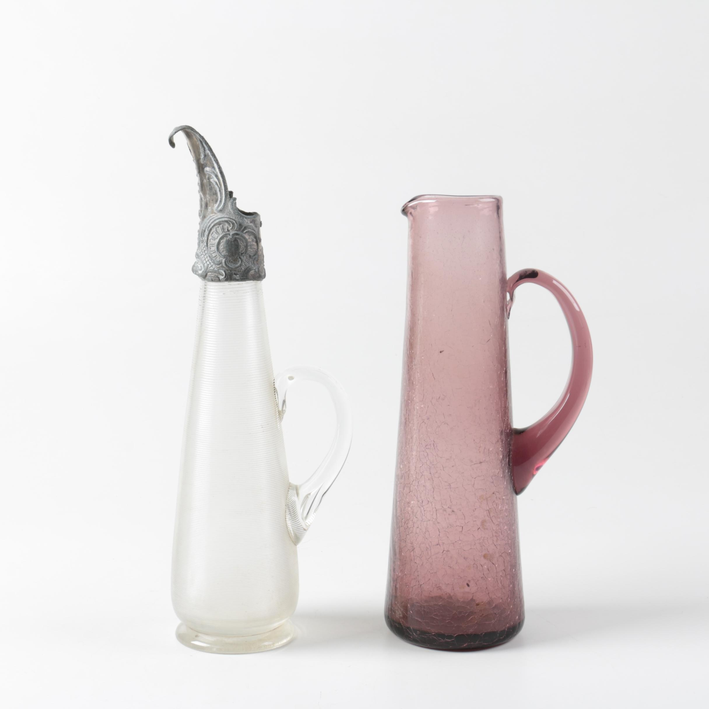 Glass Pitchers featuring Silver Tone Lid
