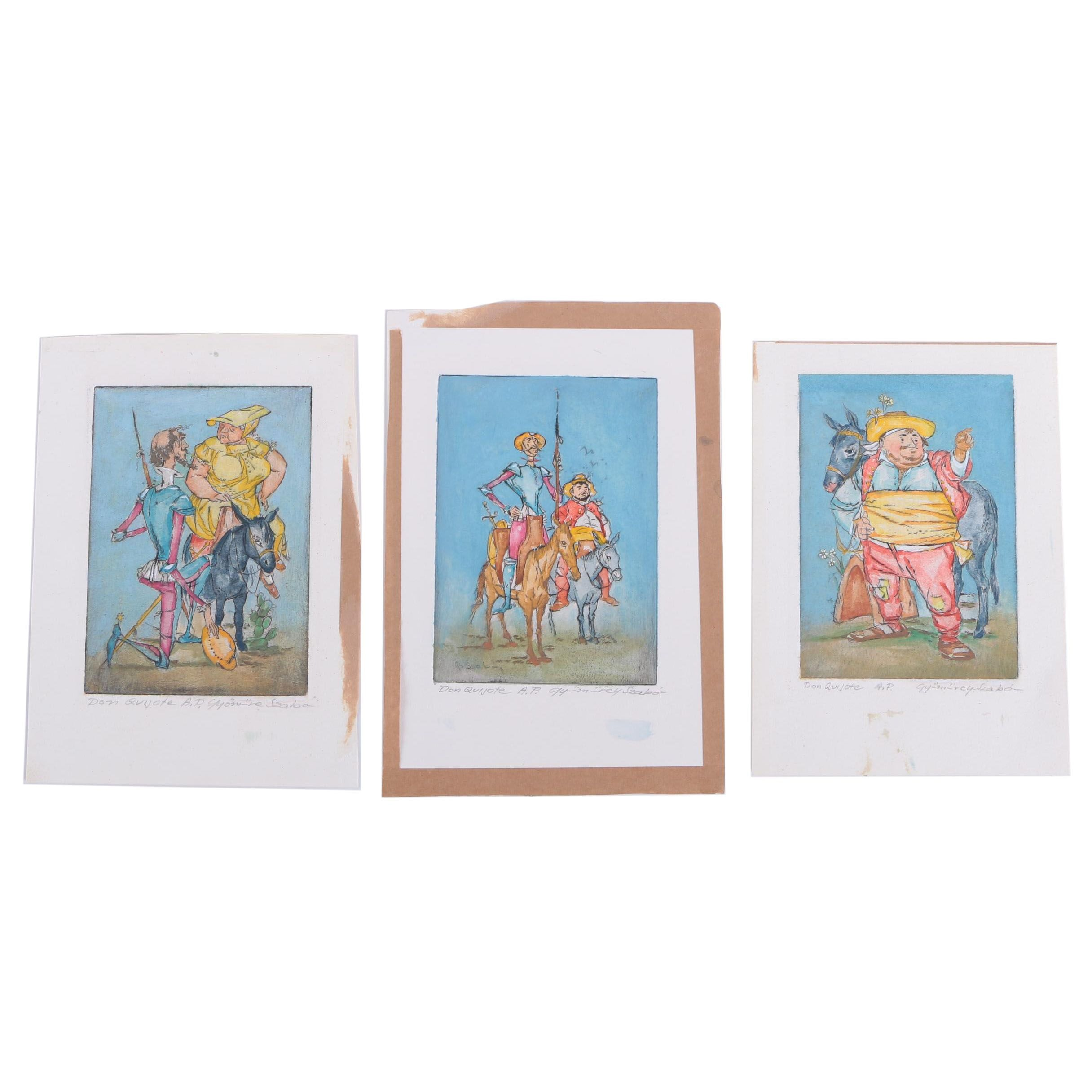 "Szabo Artist's Proof Hand-Colored Etchings ""Don Quijote"""