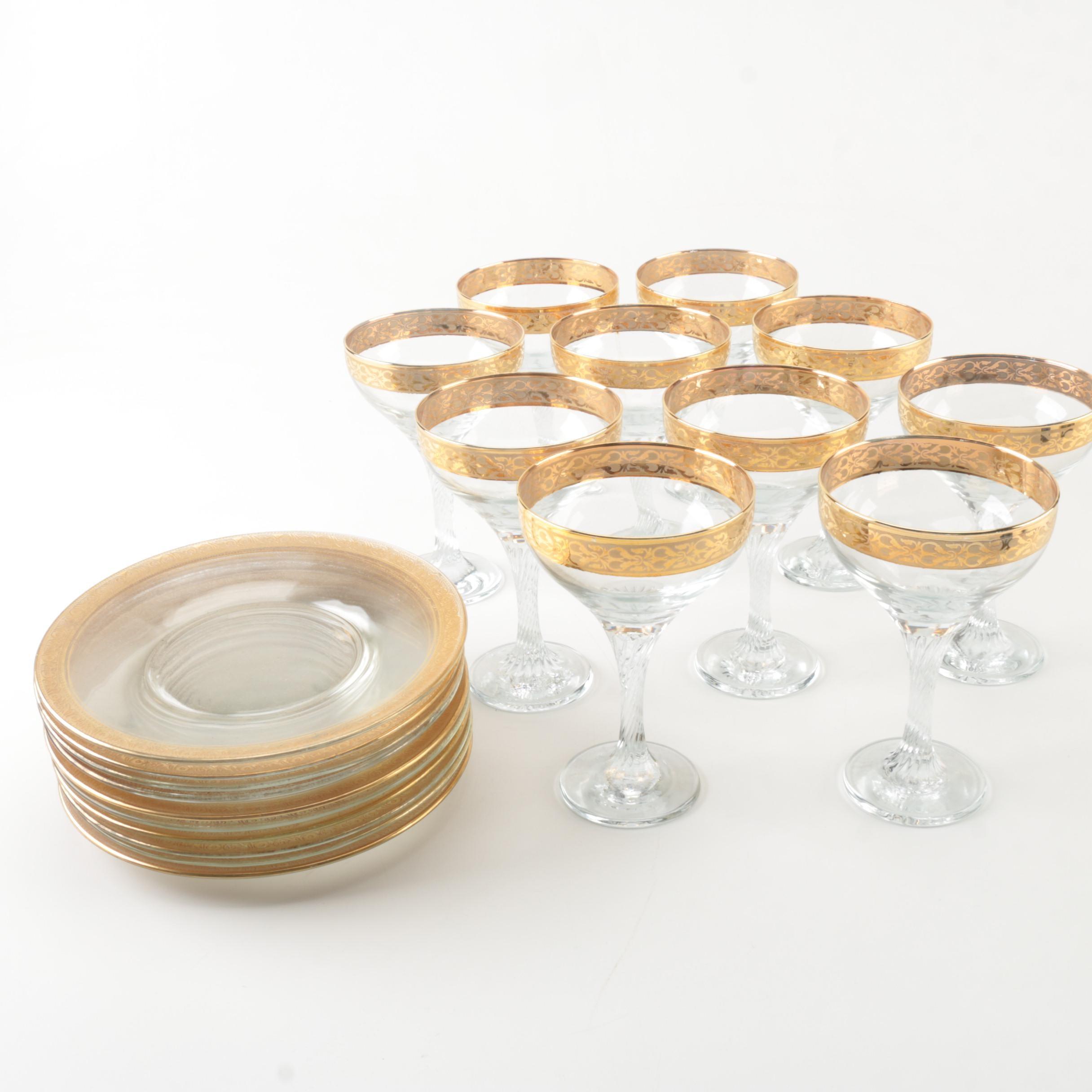 Vintage Gold Encrusted Glassware