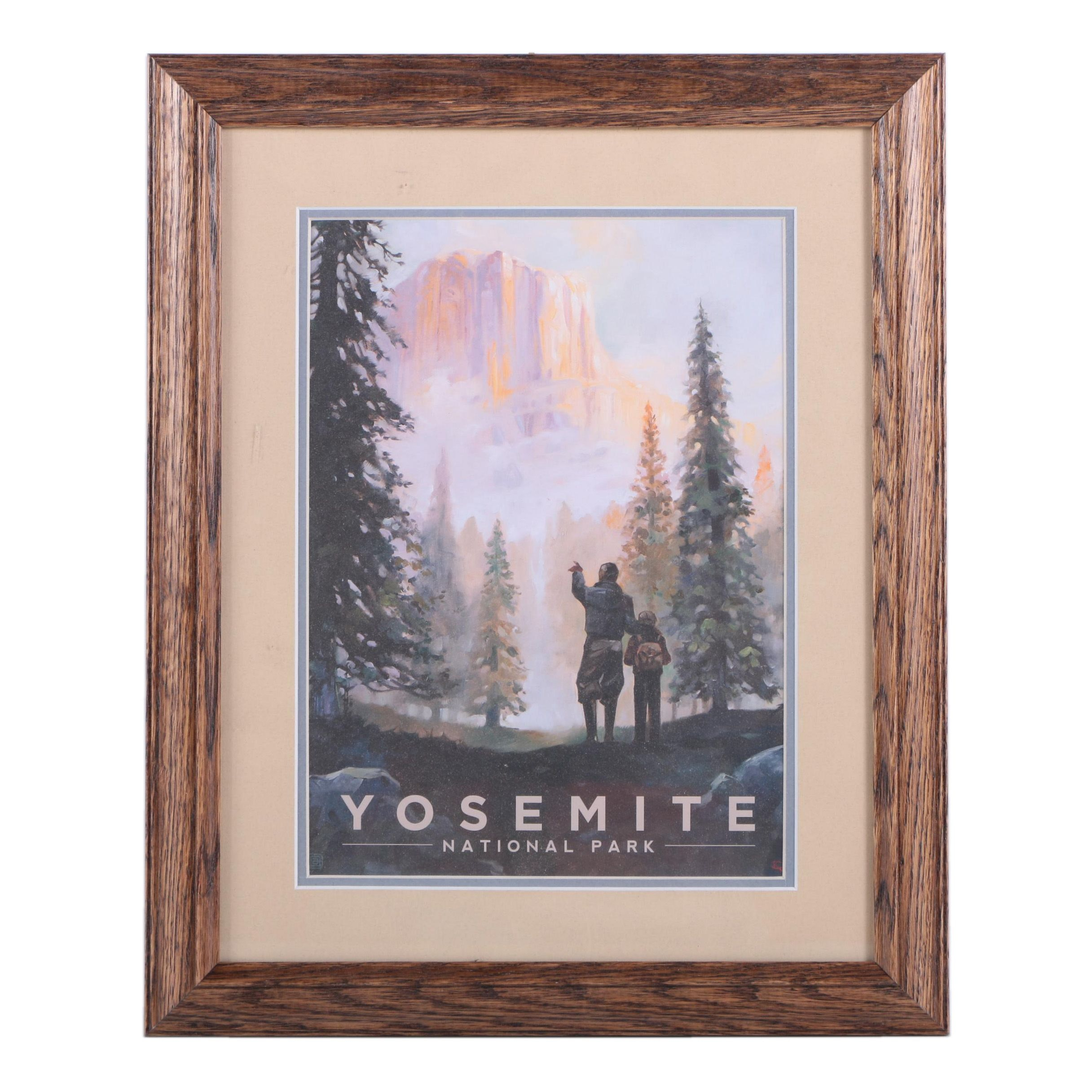Offset Lithograph on Paper After Vintage Poster for Yosemite National Park