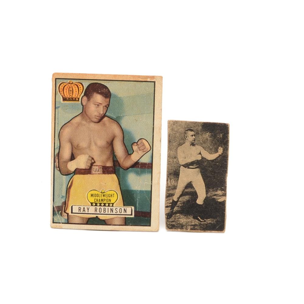 Sugar Ray Robinson and James Corbett Boxing Cards