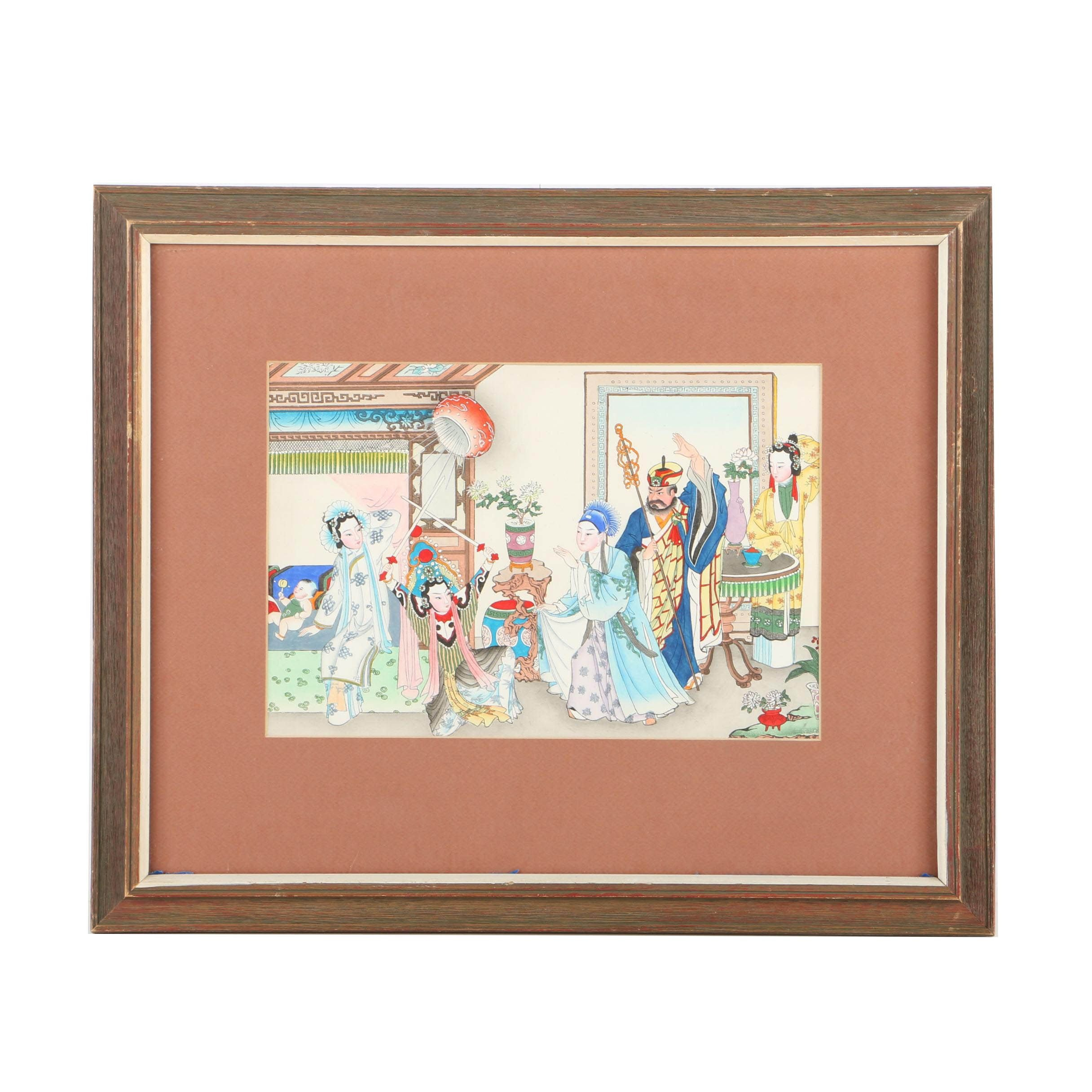 Chinese Hand-Painted Woodblock Print on Paper