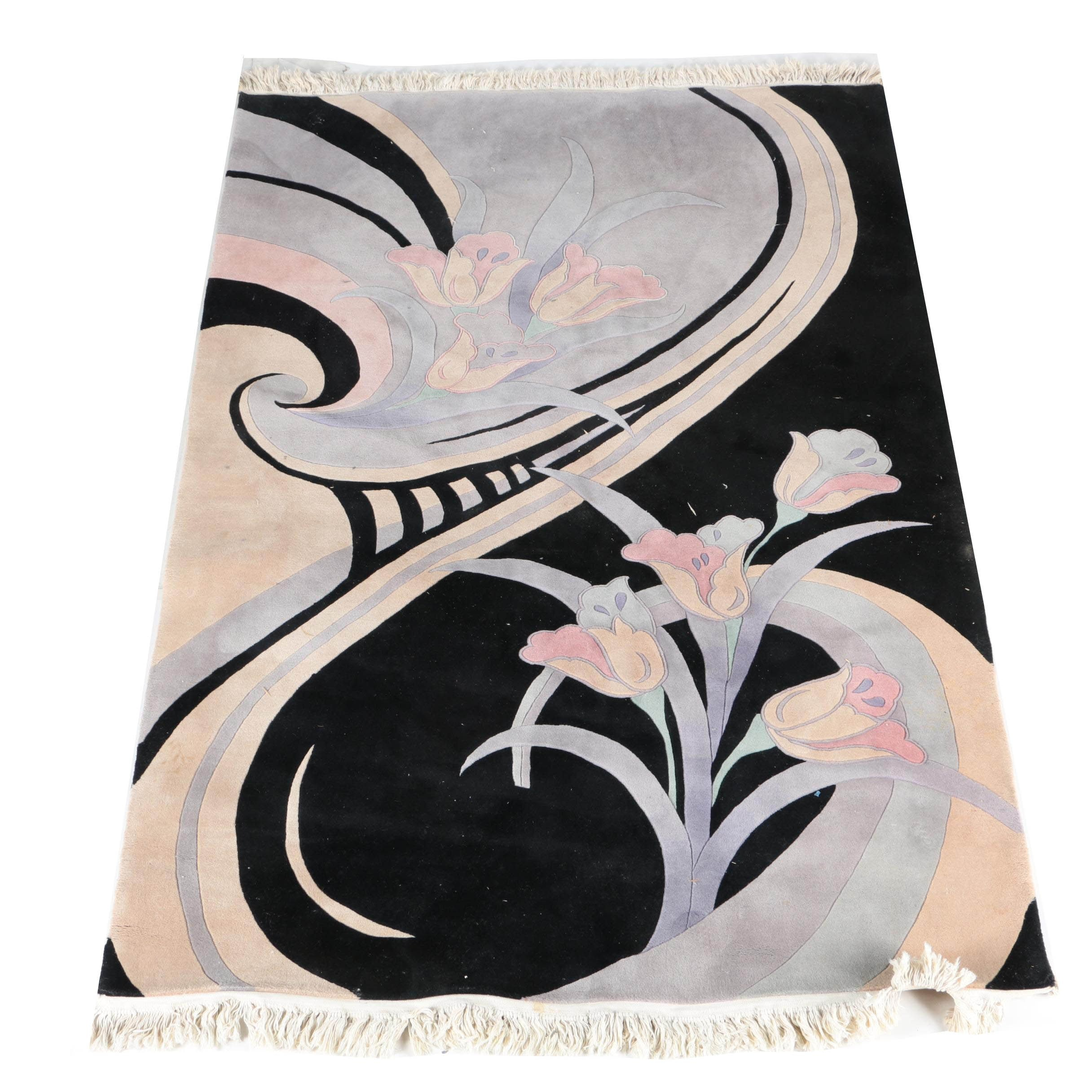 Hand-Knotted Pastel Floral Area Rug