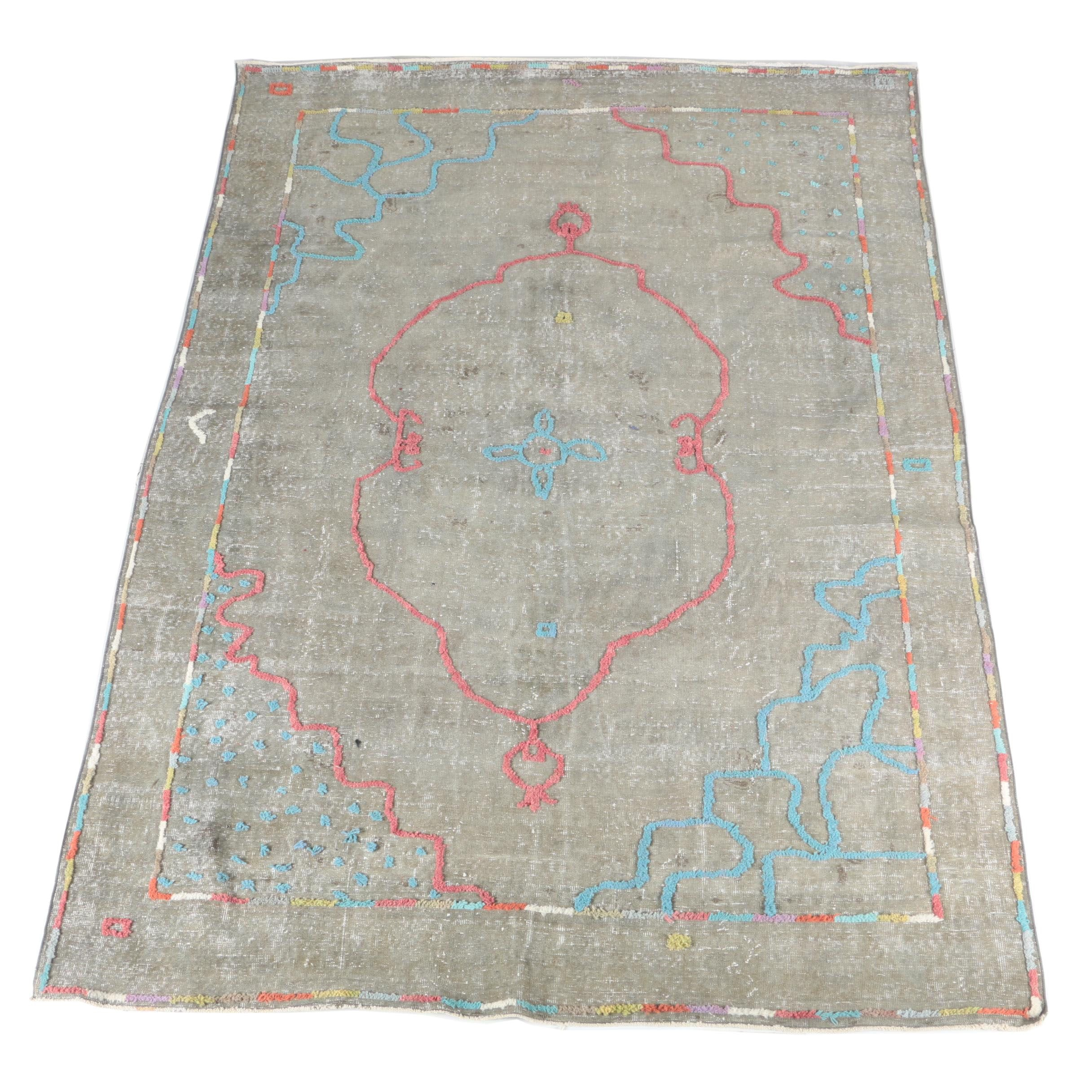 Hand-Knotted and Embroidered Overdyed Turkish Area Rug