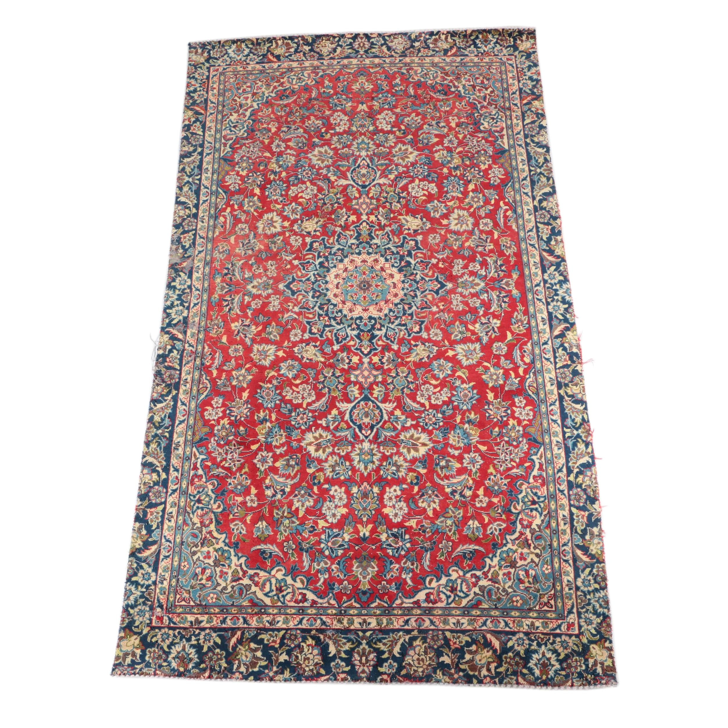 VIntage Hand-Knotted Isfahan Wool Area Rug