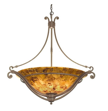 Bronze Patina Ceiling Light with Pen Shell Shade