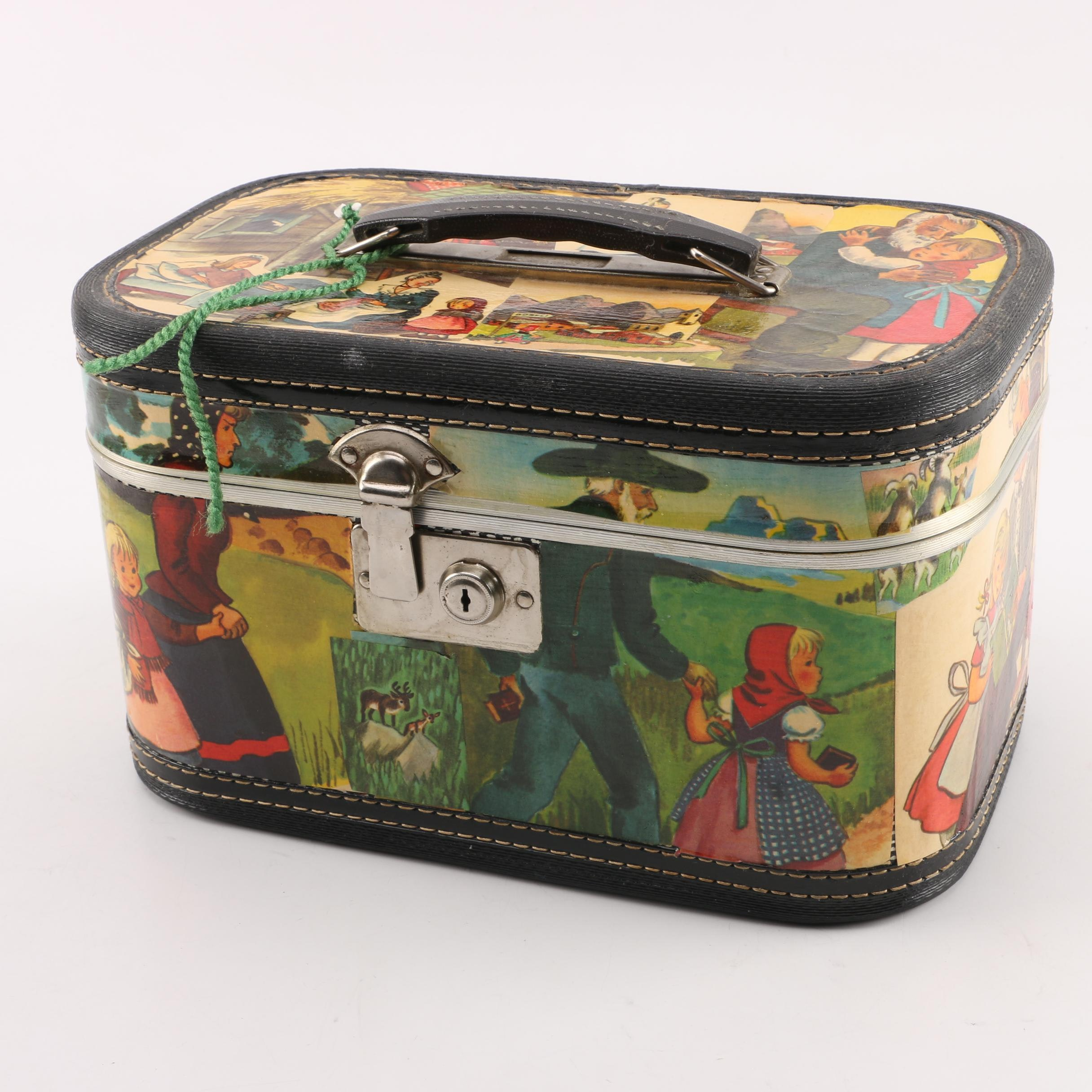"""Heidi"" Hand-Decorated Cosmetic Carry-On Travel Case"