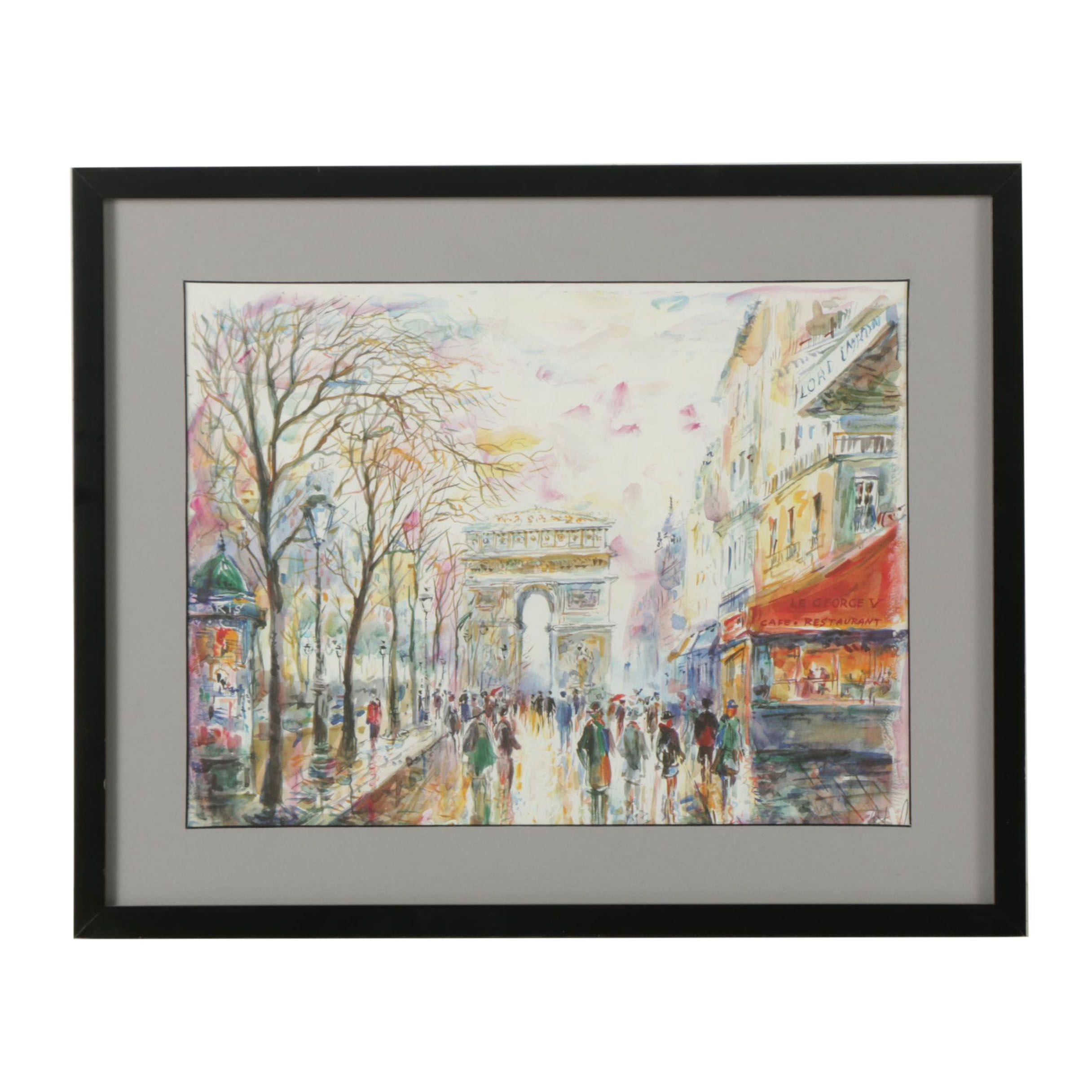 Embellished Offset Lithograph on Paper Parisian Street Scene