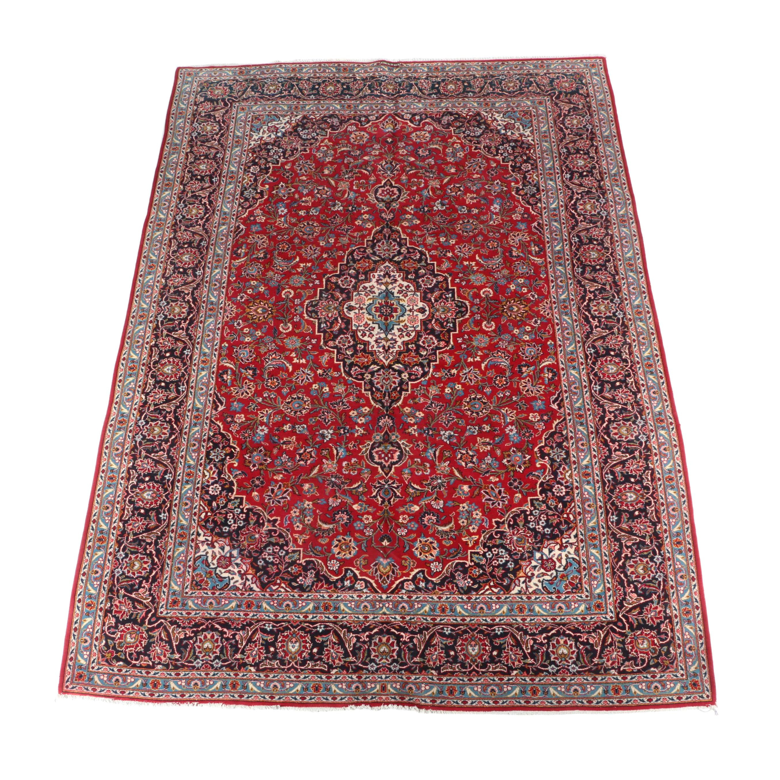 Large Hand-Knotted Persian Kashan Wool Area Rug