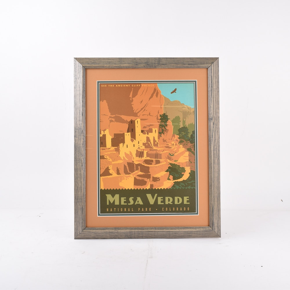 Framed Mesa Verde National Park Travel Advertisement