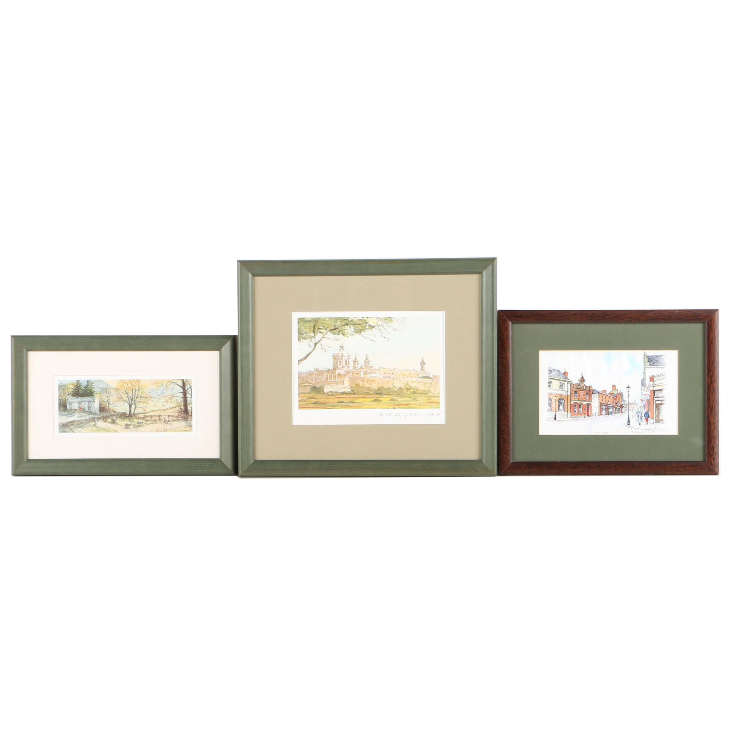 Reproduction Prints on Paper of Farm Scene, Malta, and a Village