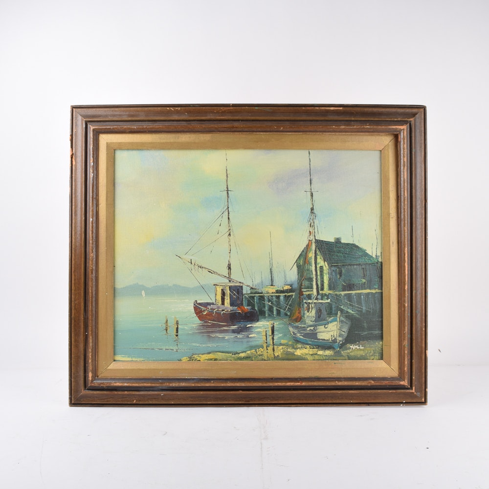 Hill Oil Painting on Canvas of a Harbor
