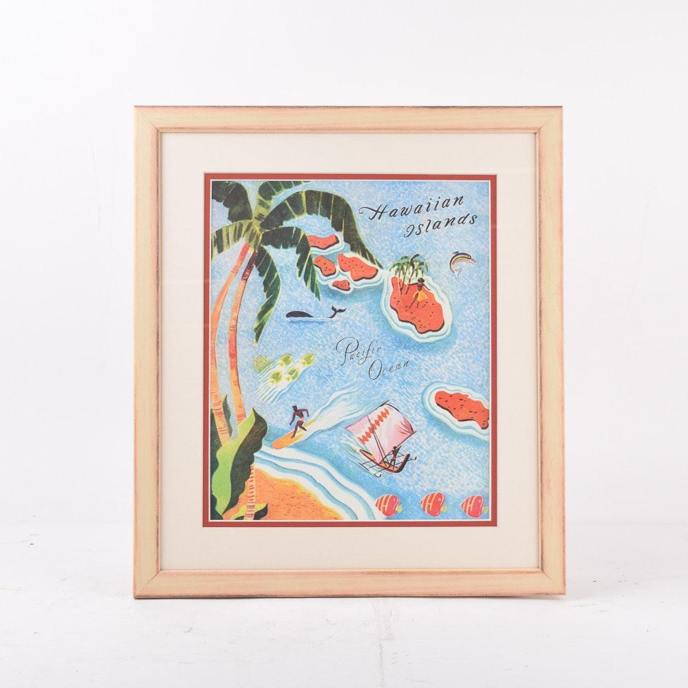 Vintage Style Travel Advertisement for Hawaiian Islands