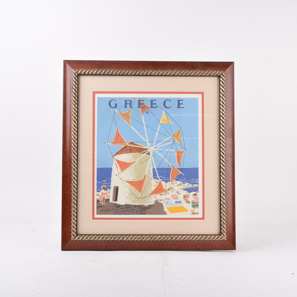 Offset Lithograph After Mid-Century Travel Poster for Greece