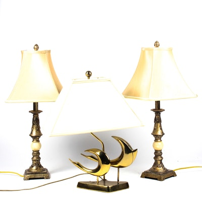 Contemporary Abstract Lamp And Two Traditional Lamps