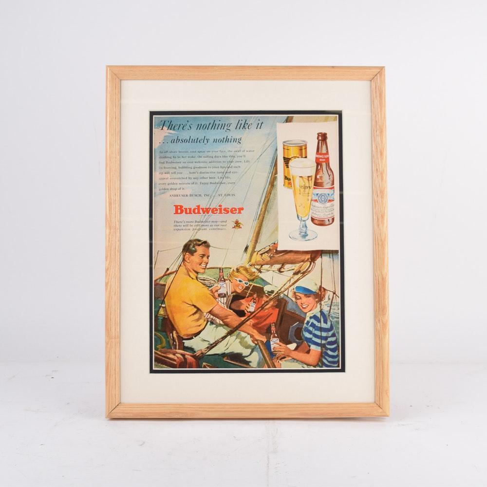 Framed 1945 Budweiser Sailing Themed Advertisement