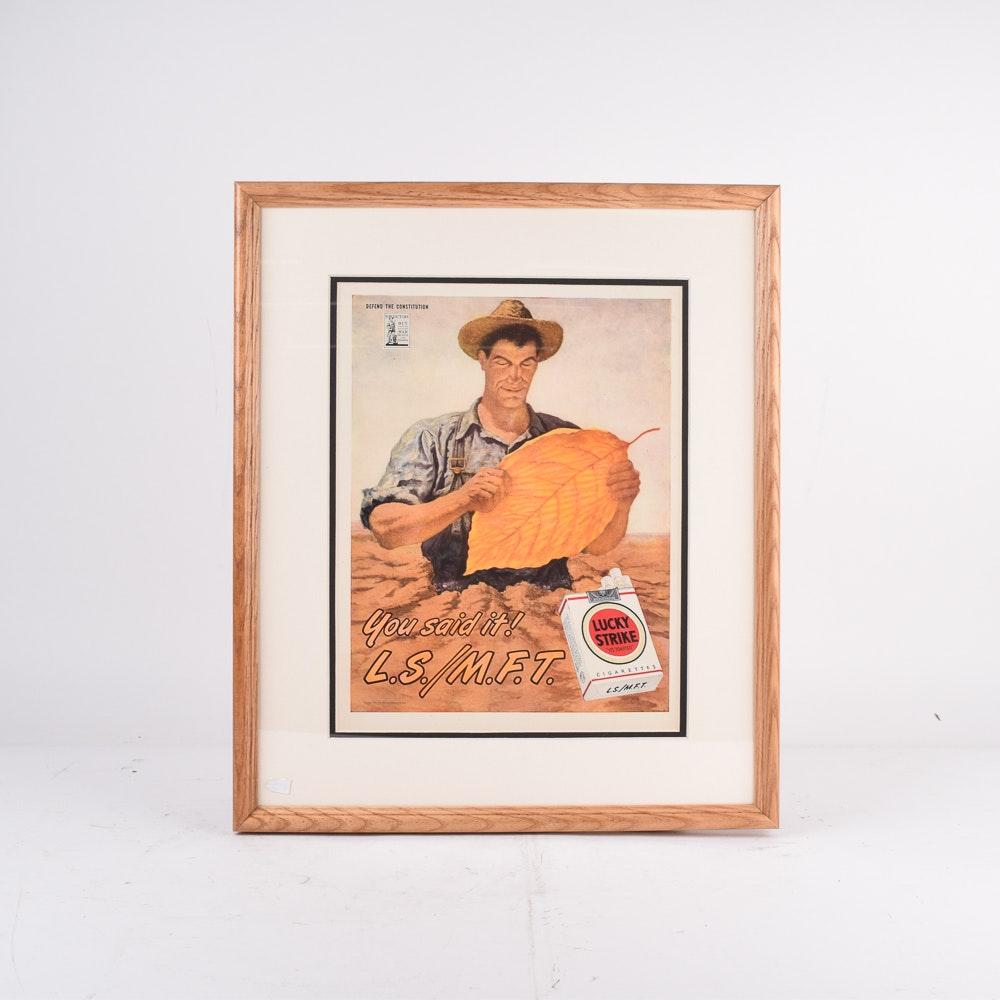 Framed 1944 Lucky Strike Advertisement Depicting Farmer Holding Leaf of Tobacco
