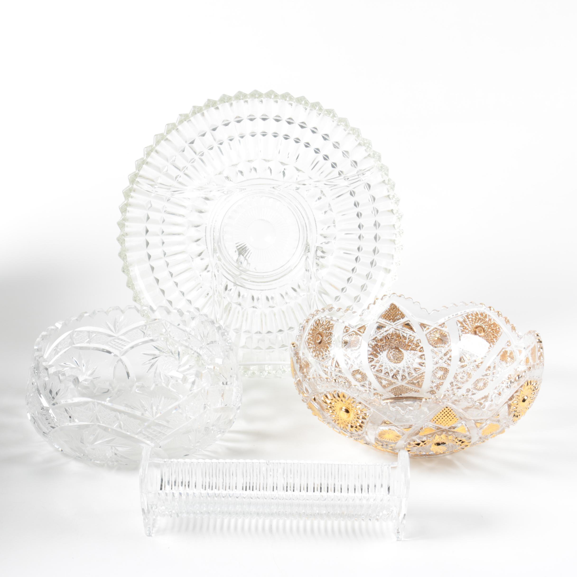 Glass Serveware Including Crystal Cracker Tray