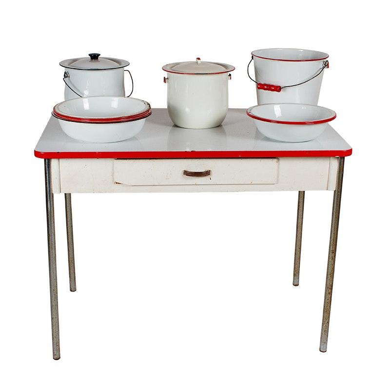 Vintage Enamel Cookware and Benjamin Crysteel Table