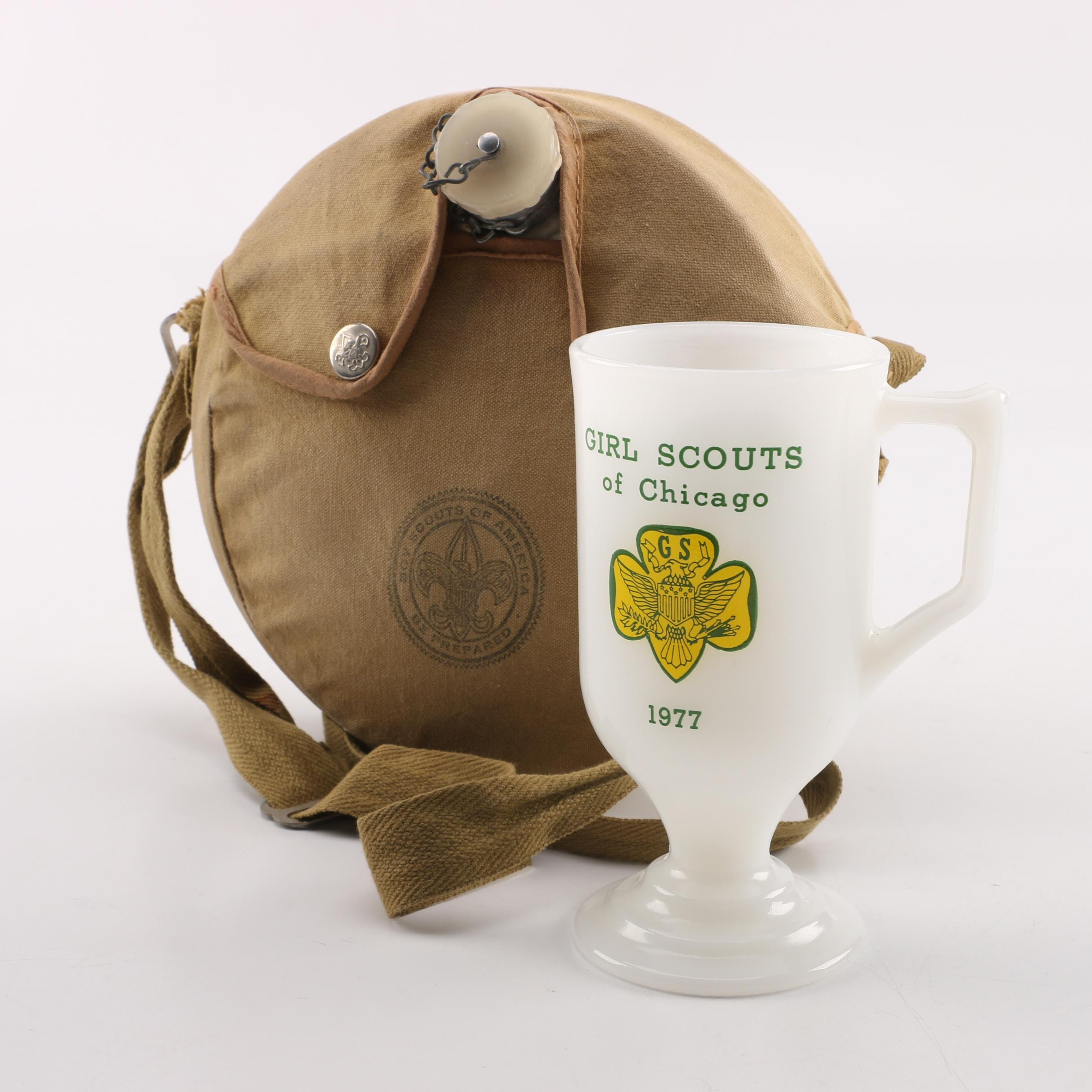 Vintage Boy Scouts Canteen and Girl Scouts Cup