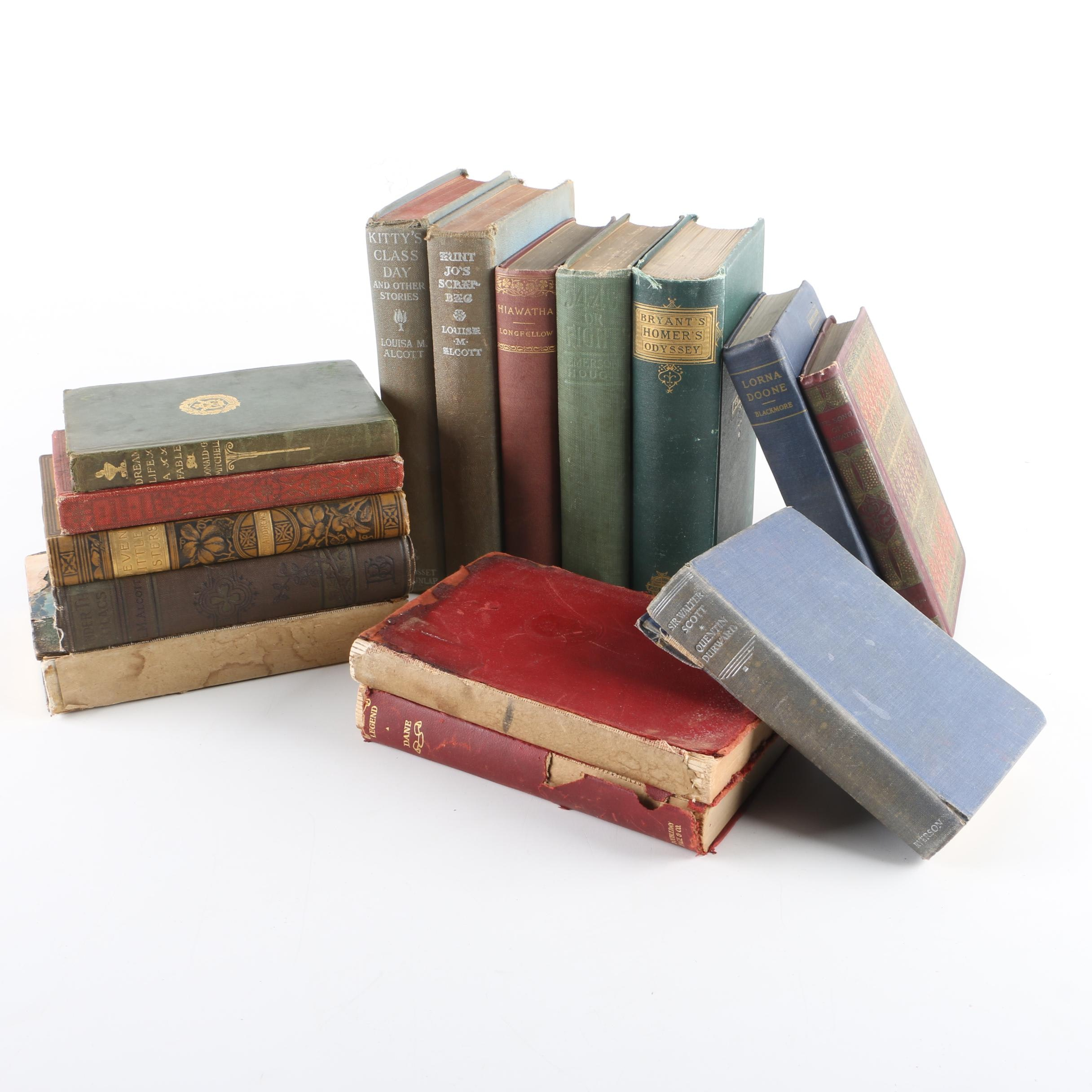 Fifteen Antique and Vintage Hardcover Books