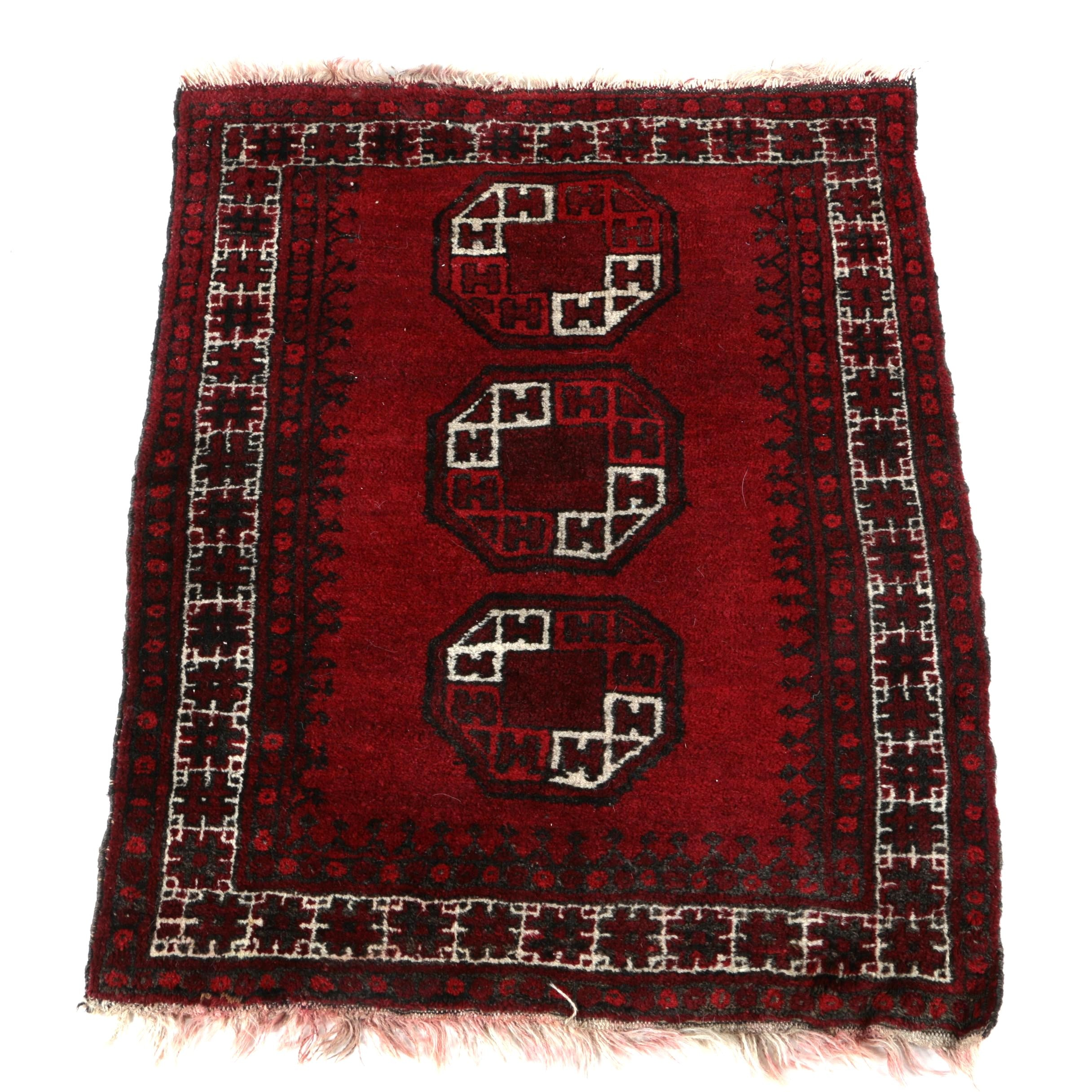 Hand-Knotted Afghani Turkmen Accent Rug