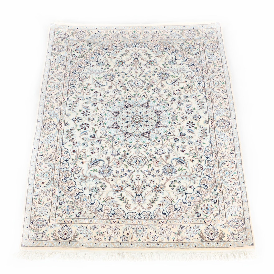 Hand Knotted Persian Wool Area Rug Ebth: Hand-Knotted Persian Nain Wool Area Rug : EBTH