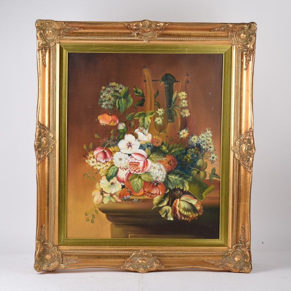Oil Painting of a Flower Arrangement on Canvas