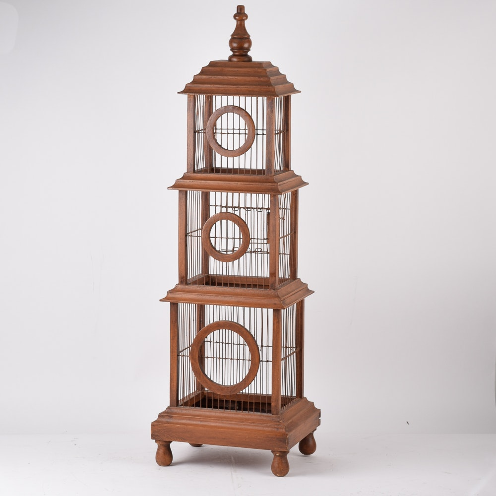 Wooden Freestanding Decorative Birdcage