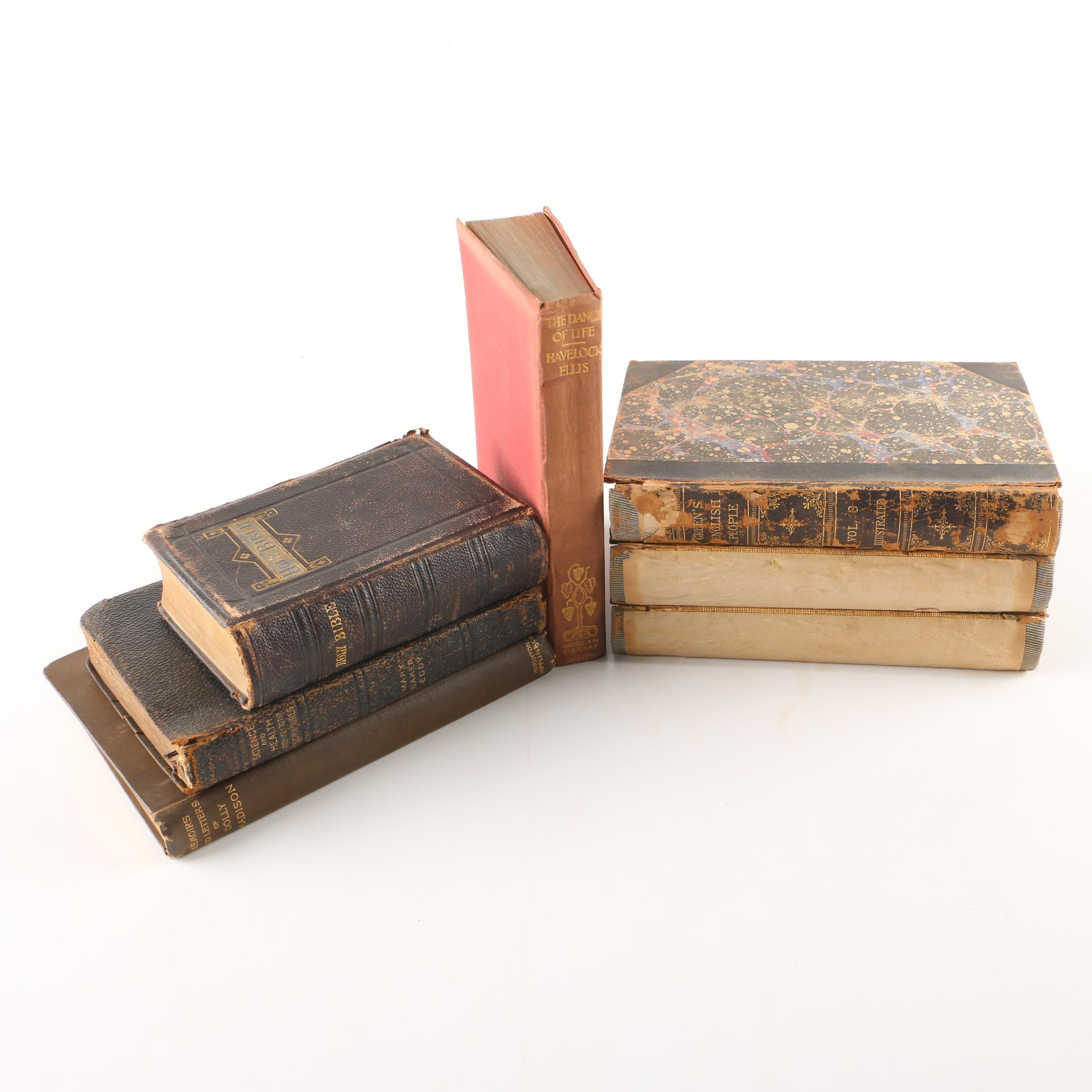 """Assorted Antique and Vintage Hardcover Books Including """"The Dance of Life"""""""