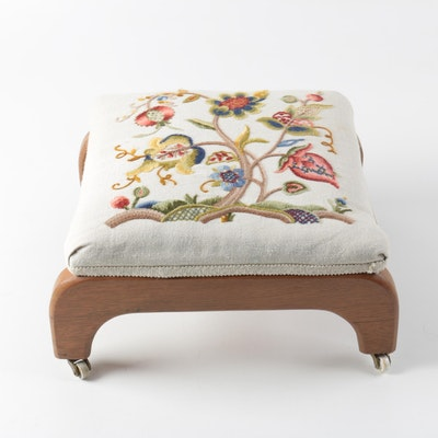 Embroidered Footstool - Online Furniture Auctions Vintage Furniture Auction Antique