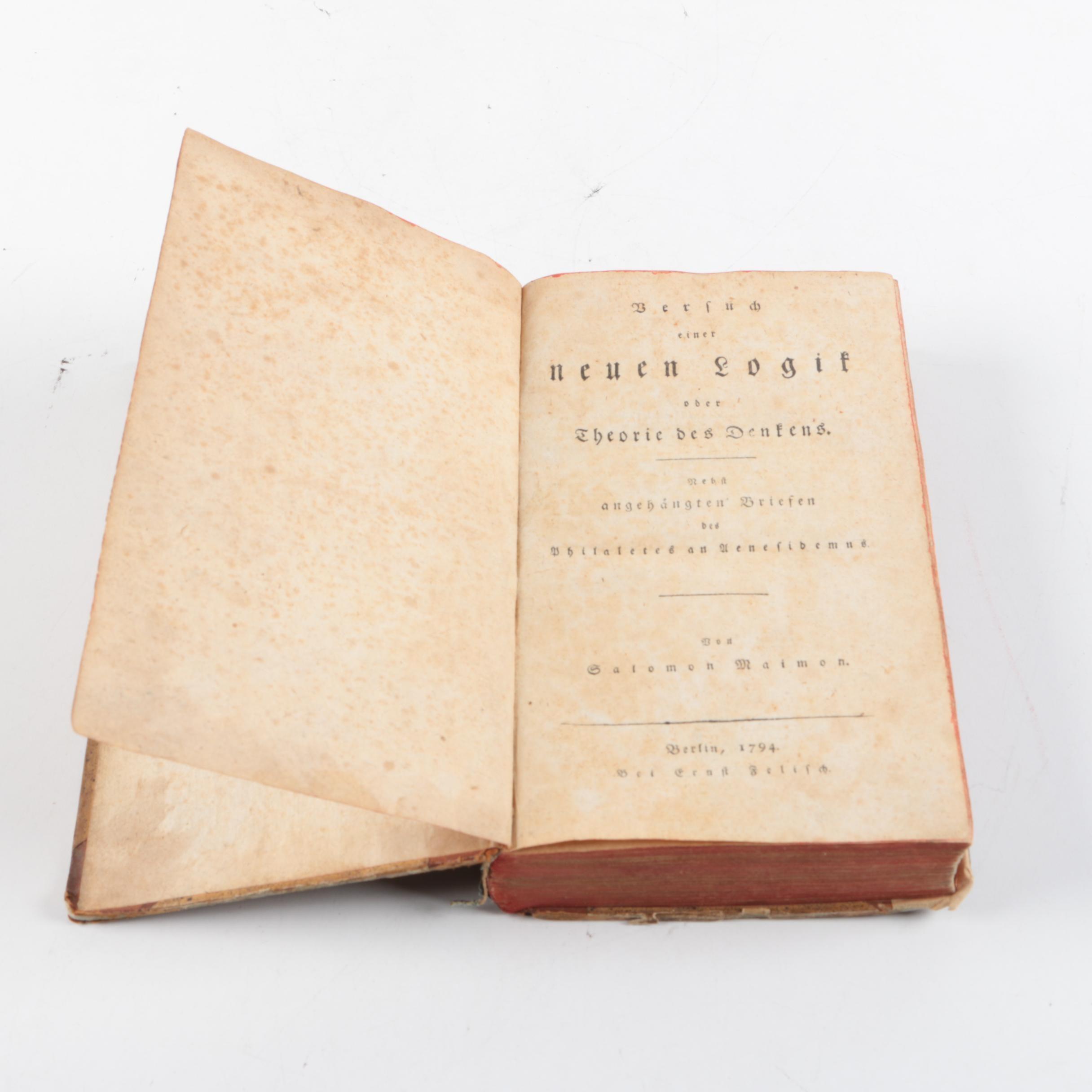 """1794 """"Versuch einer neuen Logik oder Theorie des Denkens"""" by Salomon Maimon"""