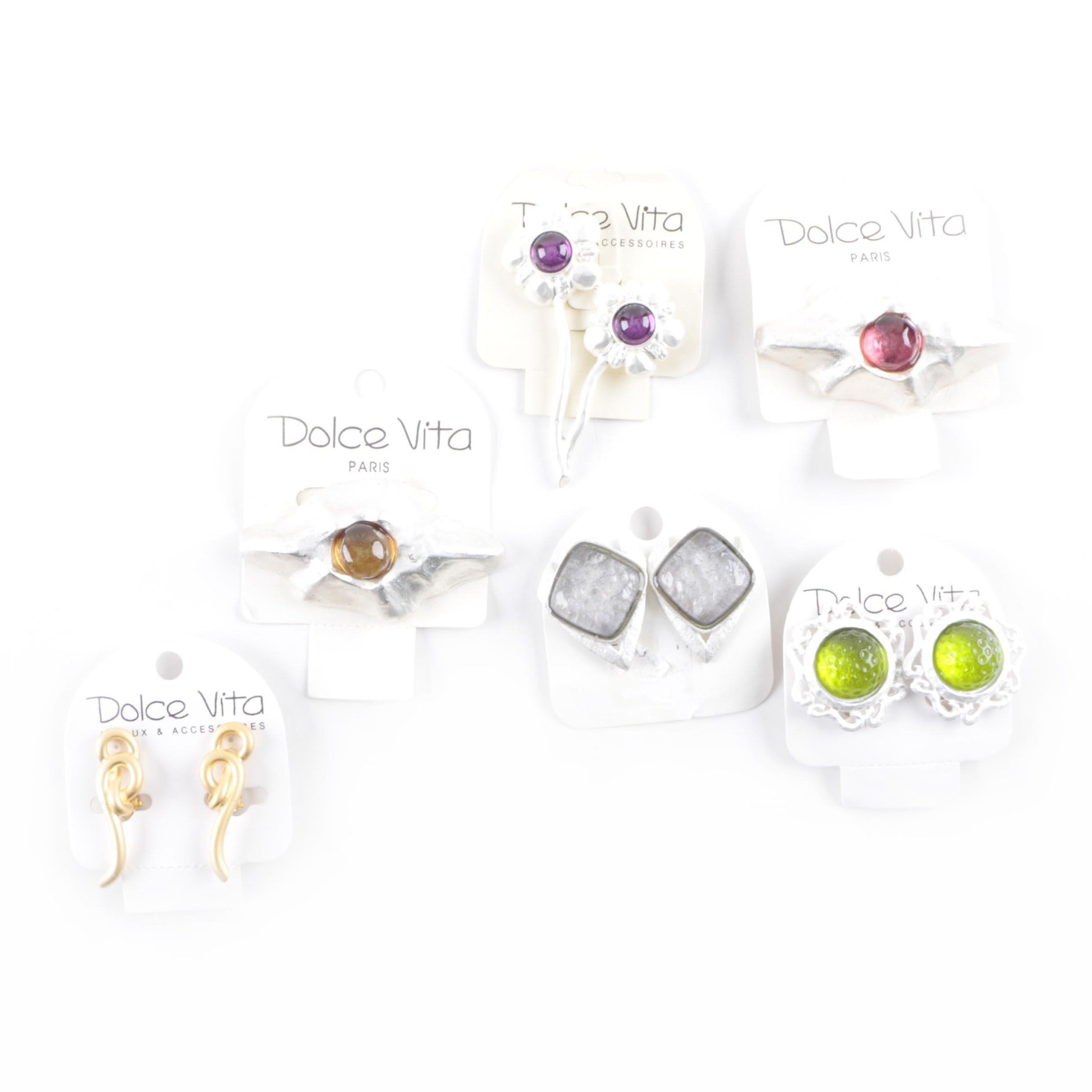 Selection of Dolce Vita Gold and Silver Tone Clip On Earrings and Brooches