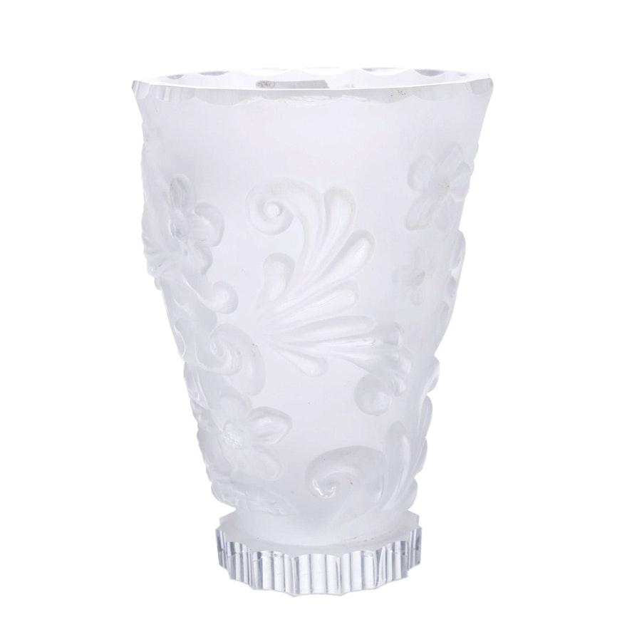 Czechoslovakian Frosted Crystal Pedestal Vase Ebth