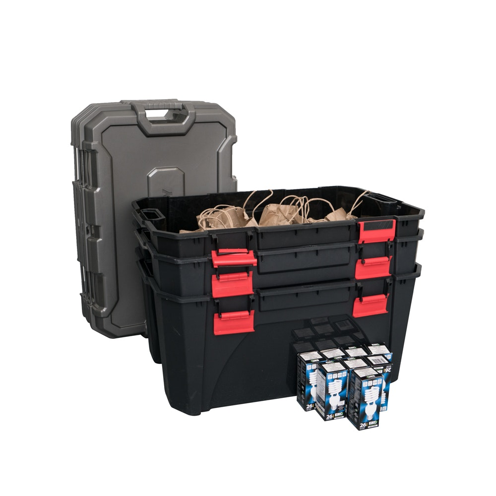 30 Gallon Latching Totes by Husky with Light Bulbs