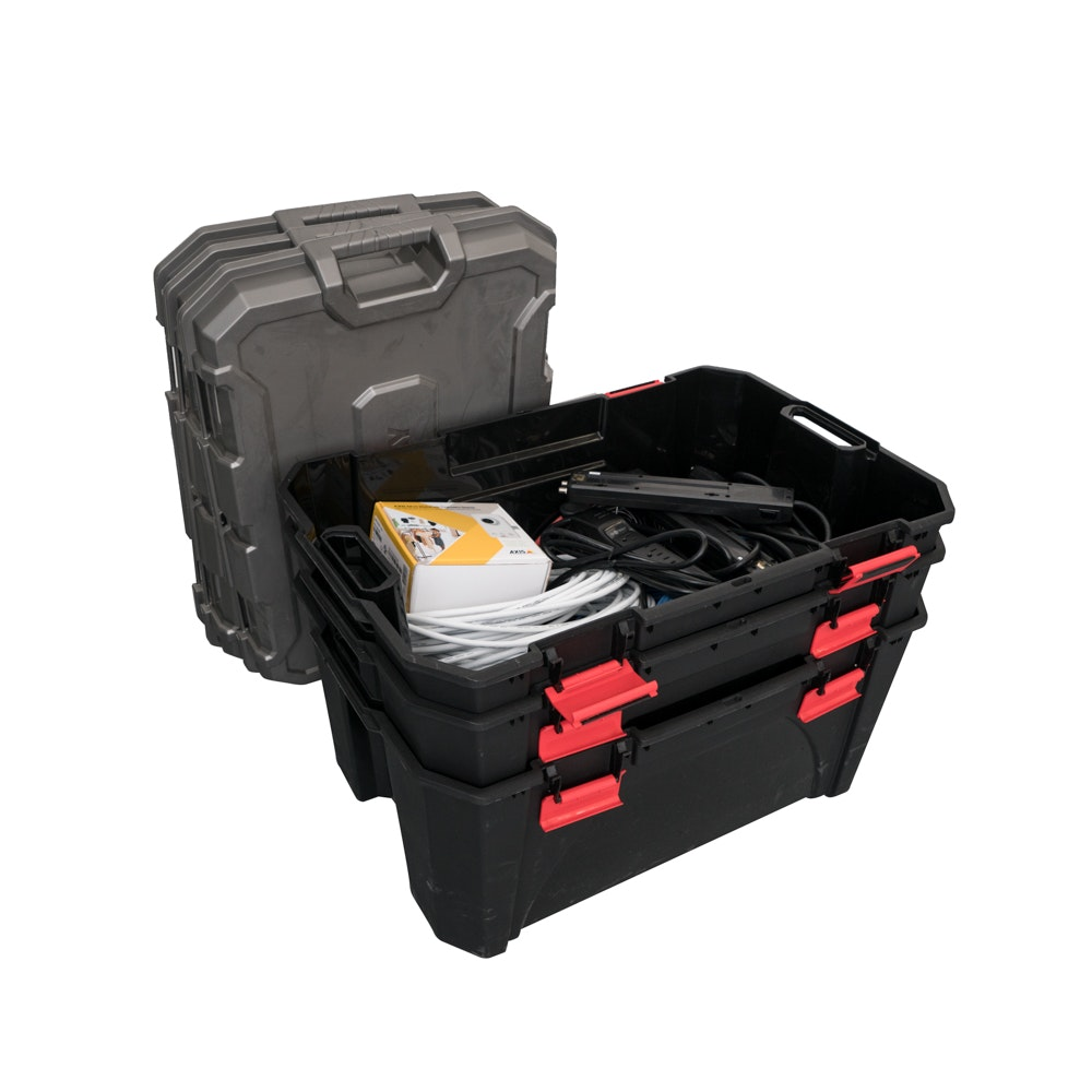 30 Gallon Latched Totes with Electronic Equipment