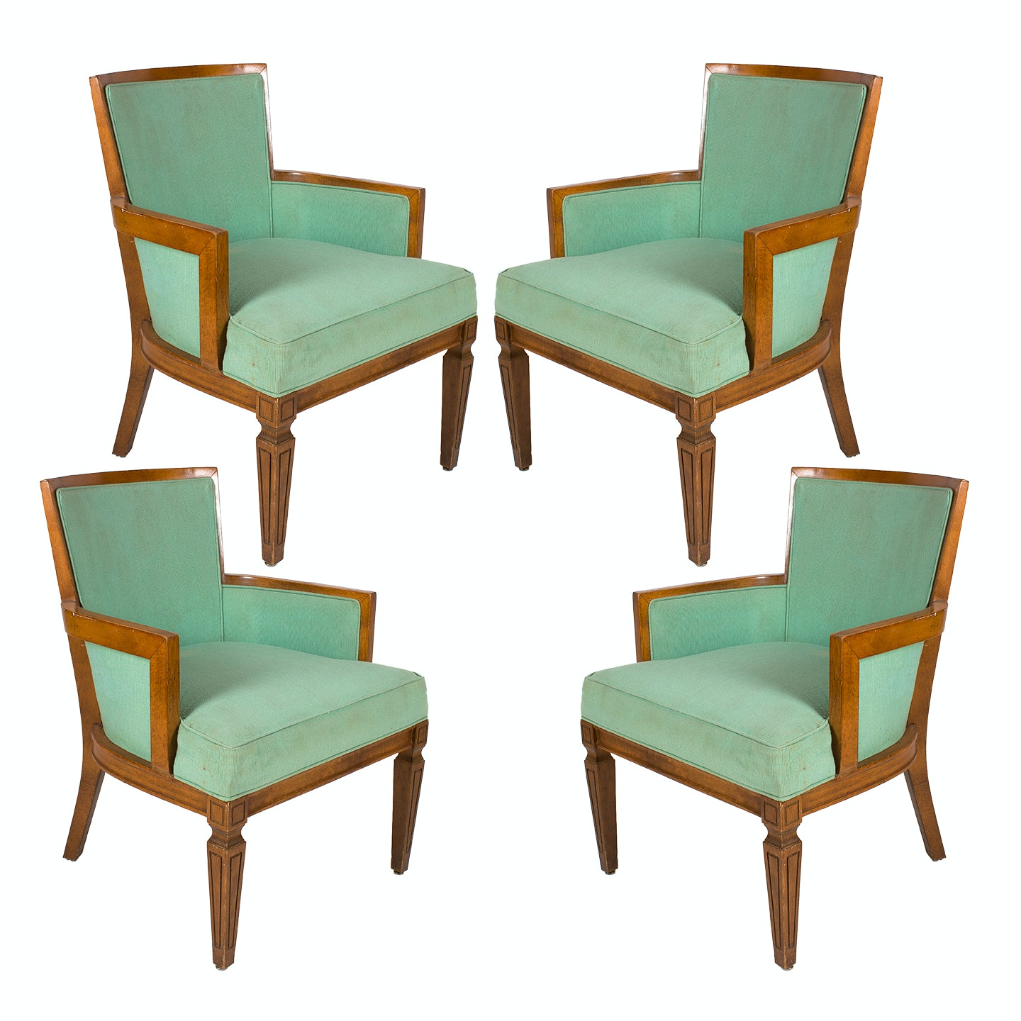 Louis XVI Style Armchairs with Fluted Legs