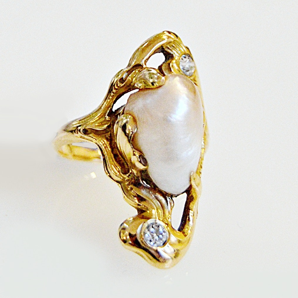 Vintage 14K Gold, Diamond and Cultured Baroque Pearl Ring