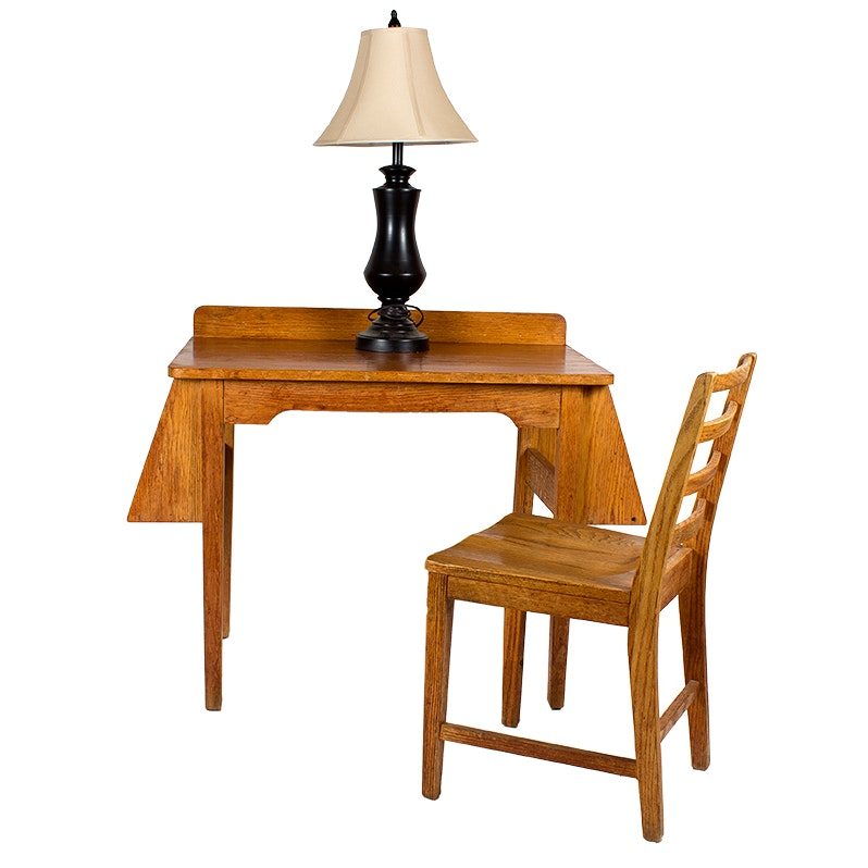 Wooden Oak Desk and Chair with Table Lamp