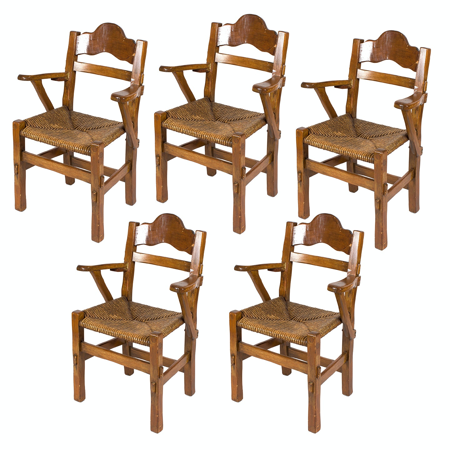 Five Vintage Chairs with Woven Seats