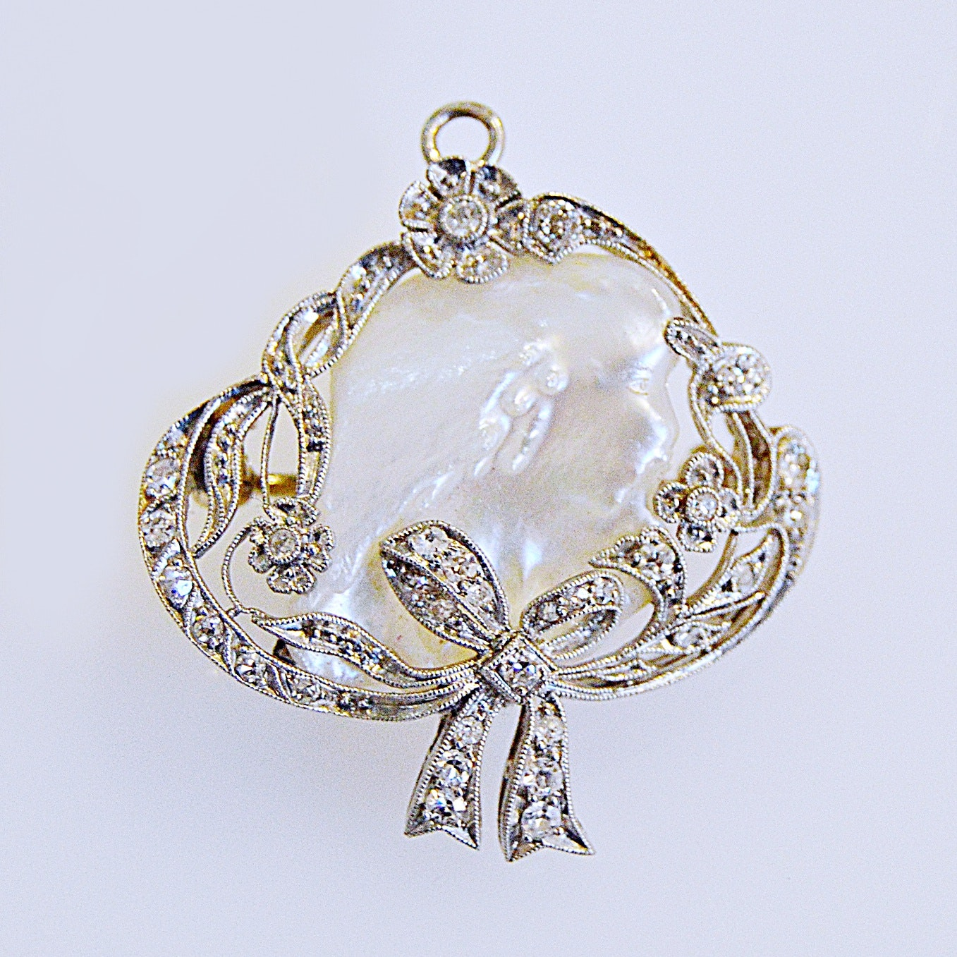 Vintage Platinum, Diamond and Cultured Baroque Pearl Pendant Brooch