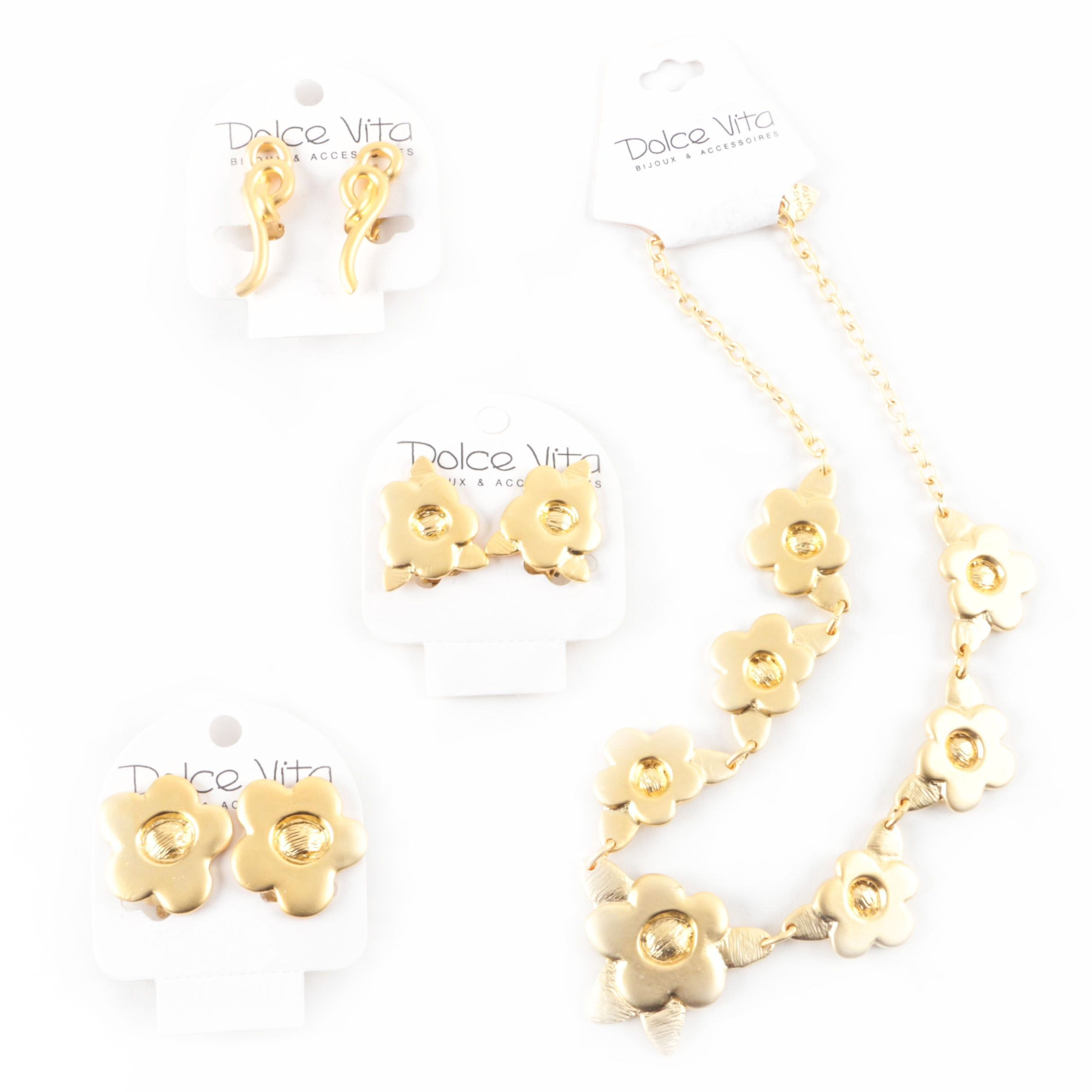 Selection of Dolce Vita Gold Tone Necklace and Clip On Earrings