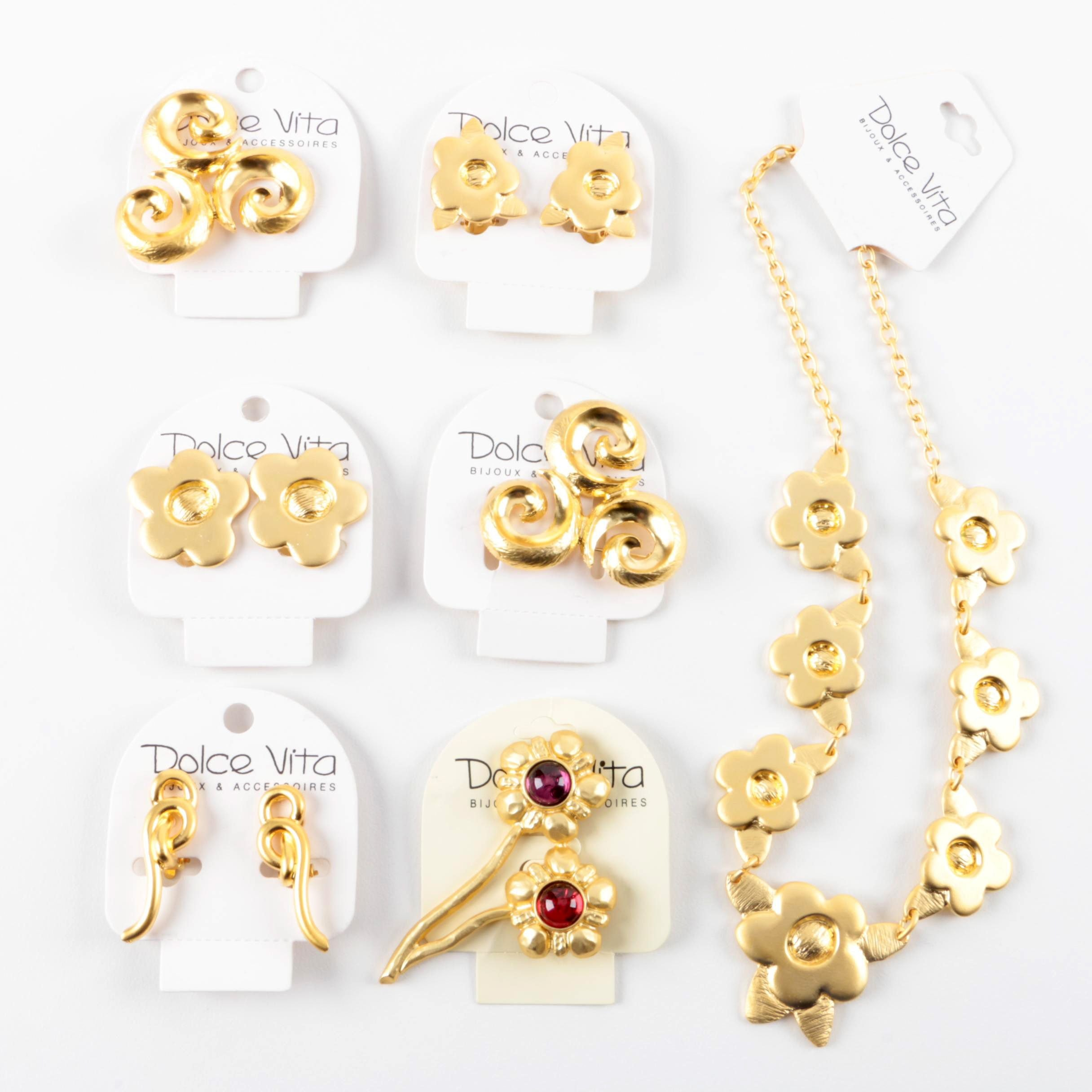 Assortment of Dolce Vita Gold Tone Jewelry Including Glass  Accents