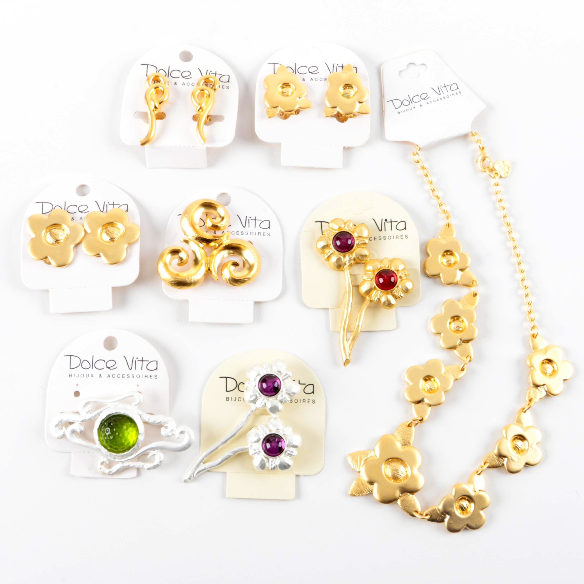 Selection of Dolce Vita Gold and Silver Tone Necklace, Earrings and Brooches