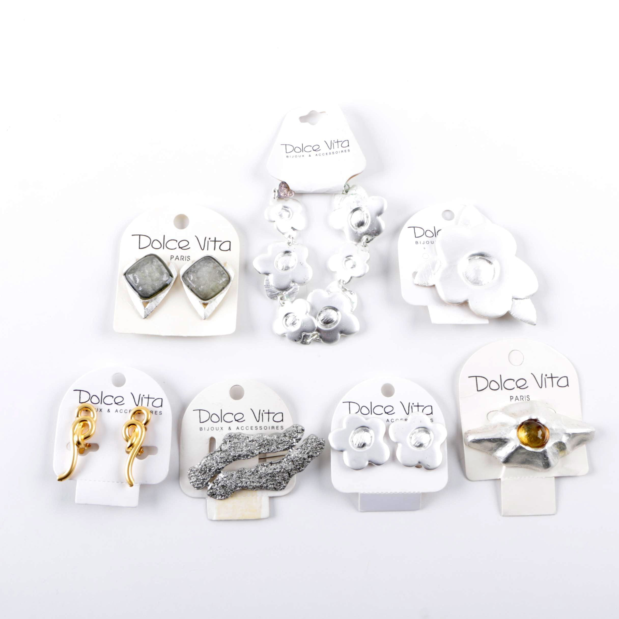 Selection of Dolce Vita Silver and Gold Tone Jewelry Including Glass Accents