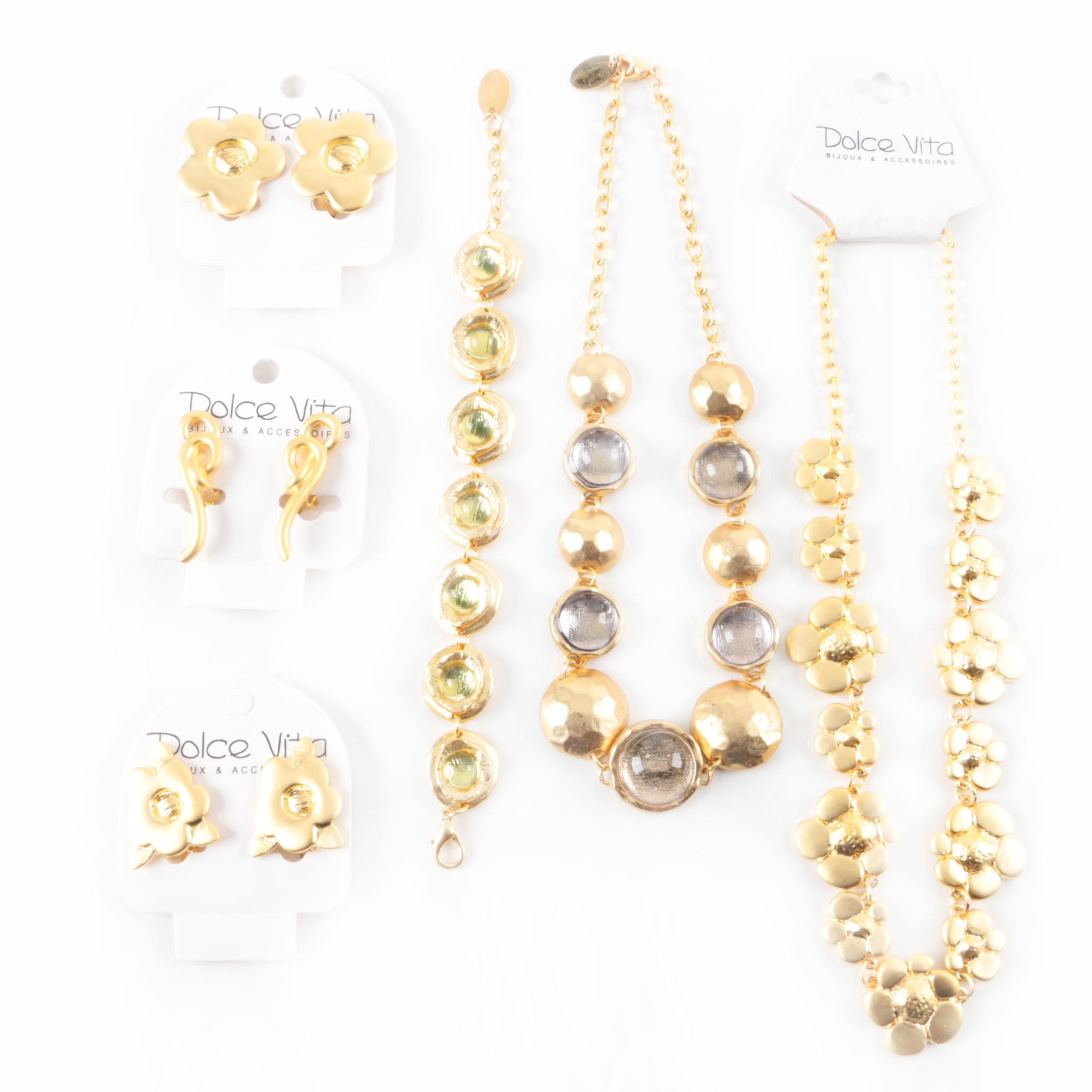Assortment of Dolce Vita Gold Tone and Glass Bracelet, Necklaces and Earrings