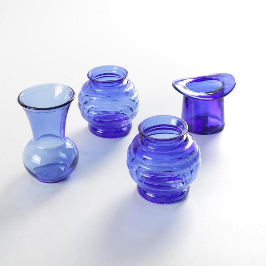 Small Blue Glass Vases Ebth