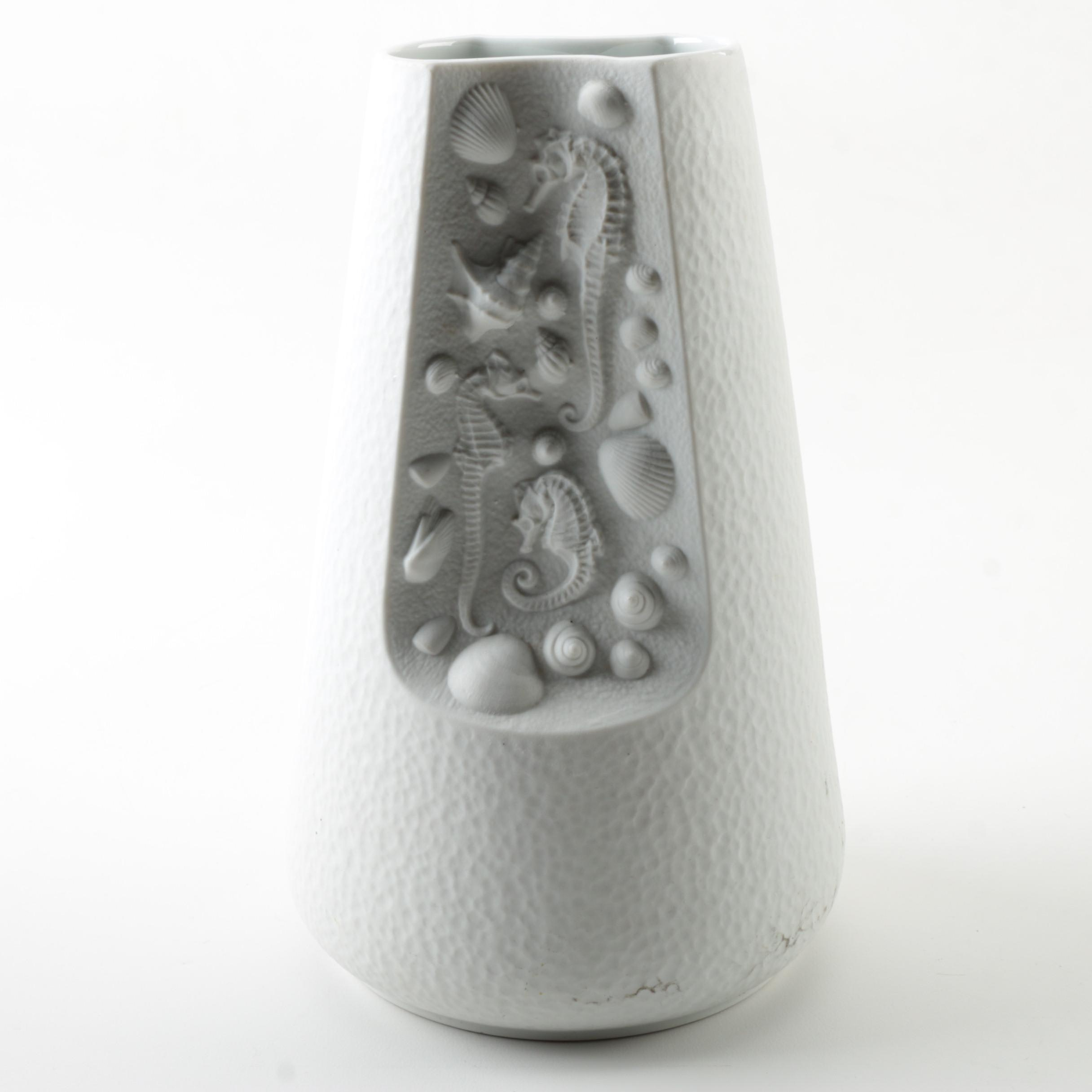 Bareuther Bisque Porcelain Vase with Ocean Motif