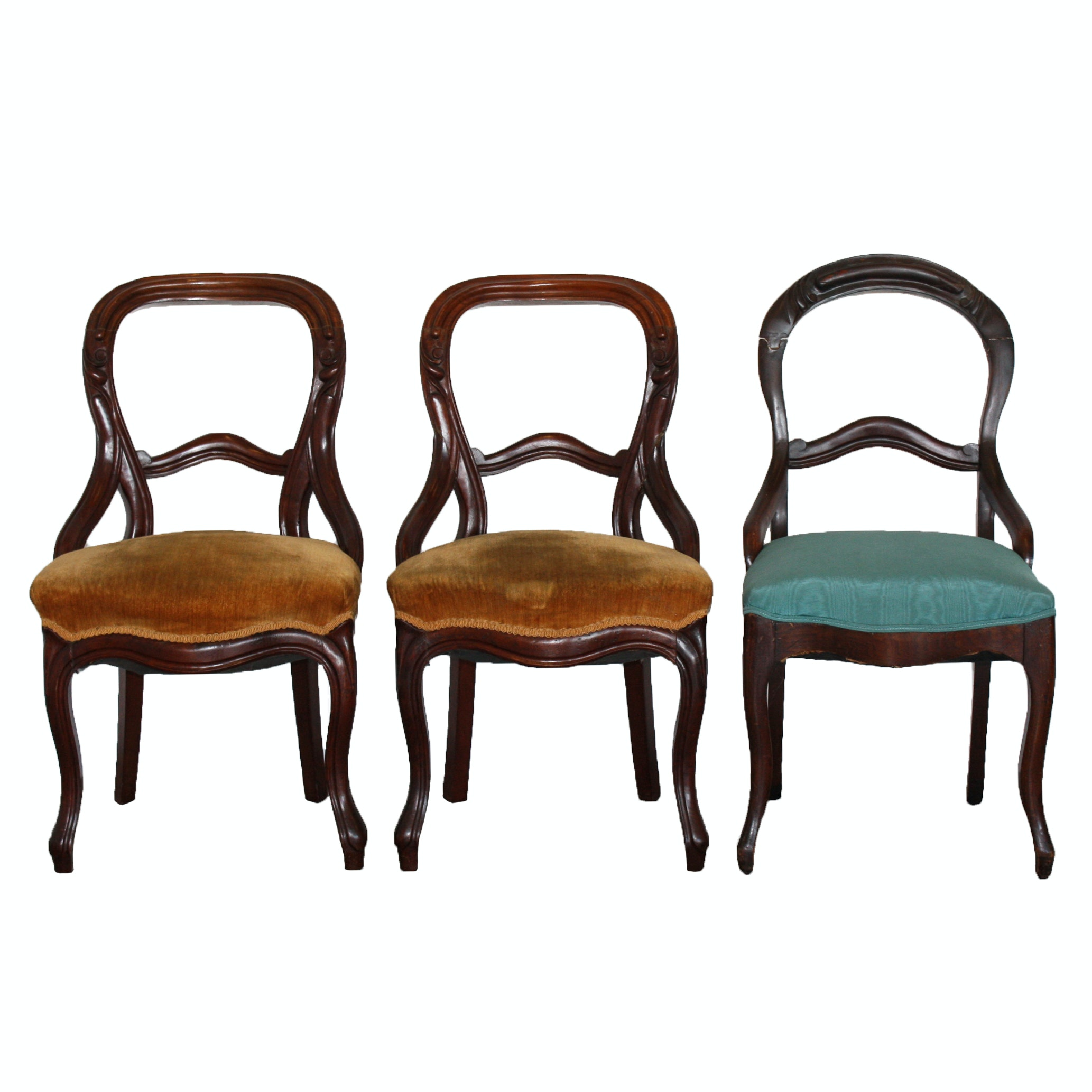 Three Victorian Mahogany Finished Balloon Back Side Chairs